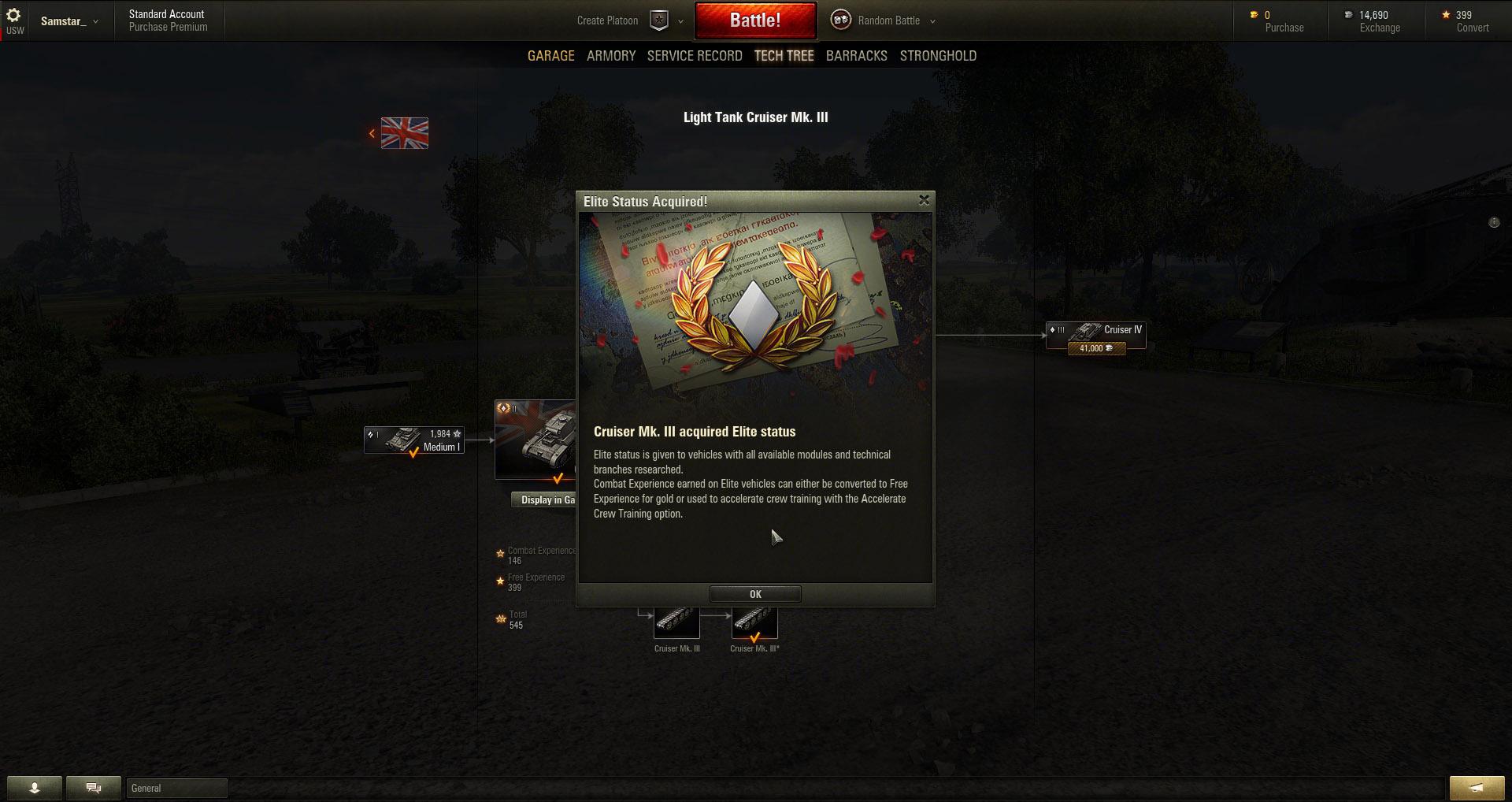 Cruiser Mk 3: Elite Status