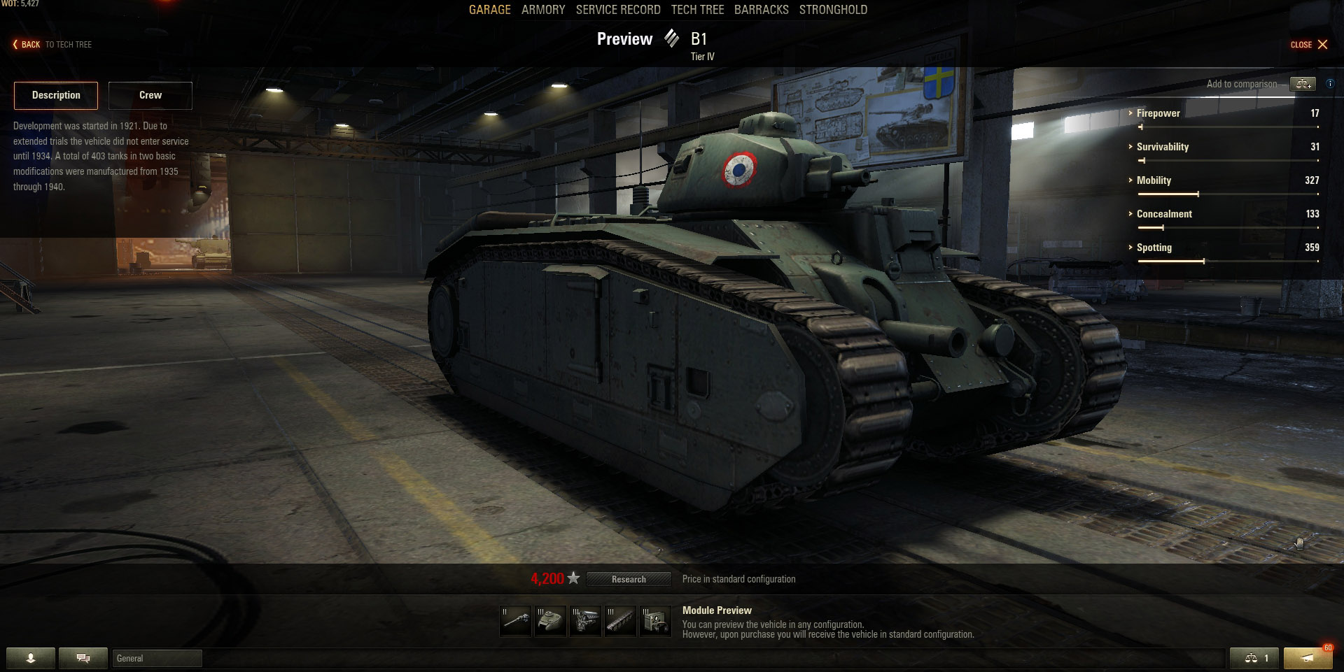 There's not a lot of Tier 4 Heavy tanks to choose from, but the B1 will be a treat to use.