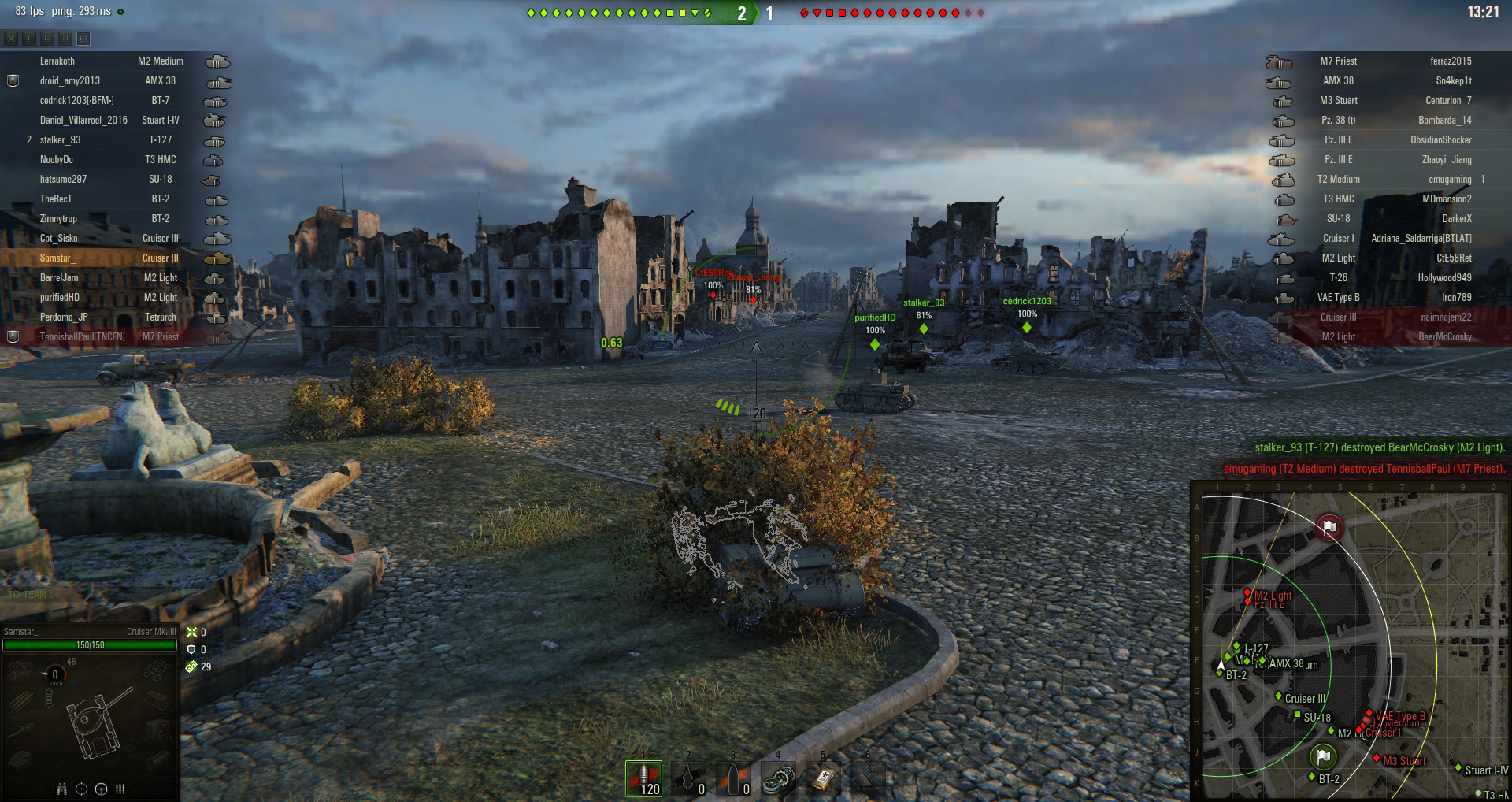 Use the bushes and shrubs to exploit the Light Tanks good spotting stats