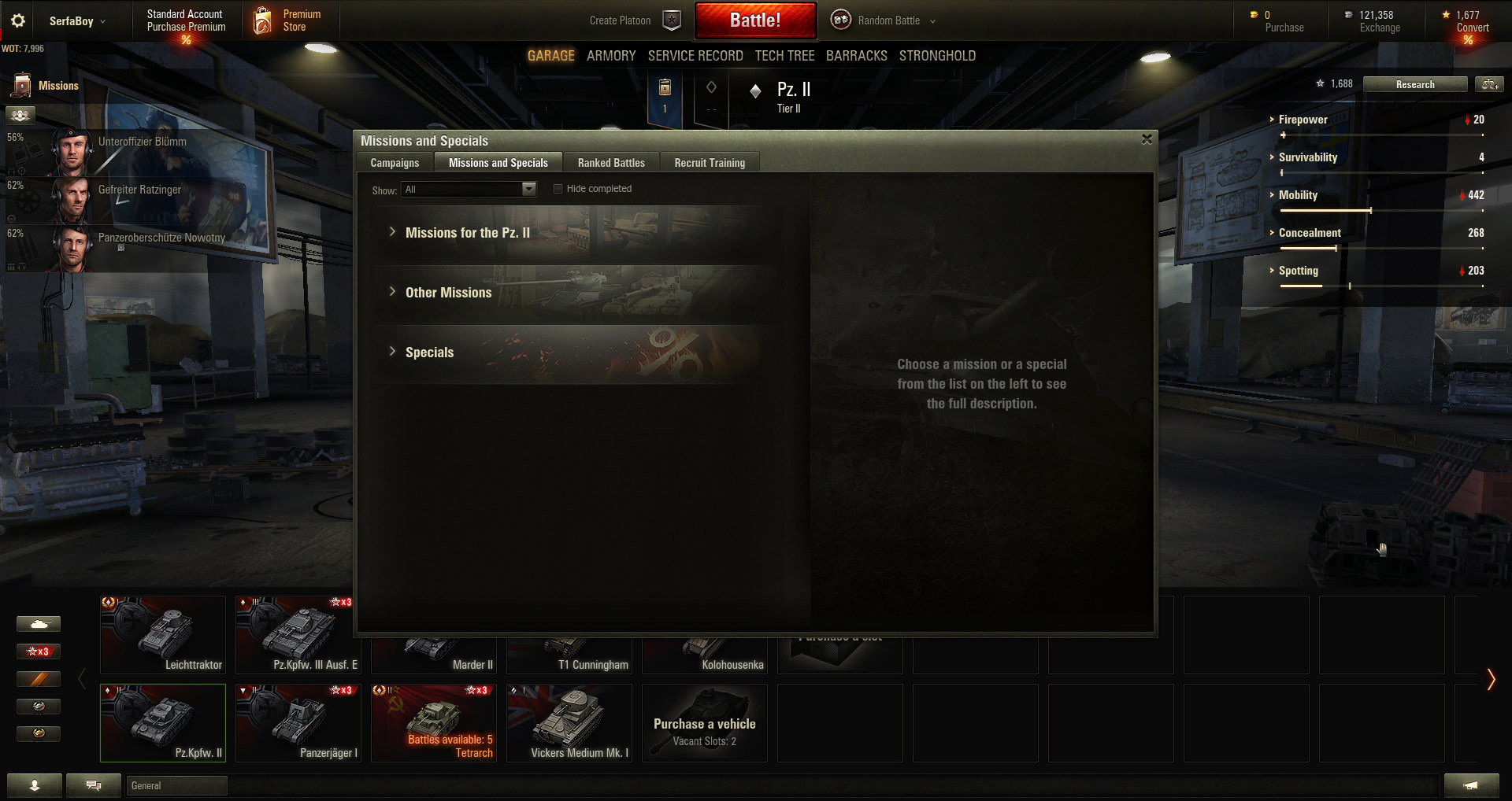 Under the Missions and Specials tab you will find Missions for the selected tank, Other Missions, and Specials.