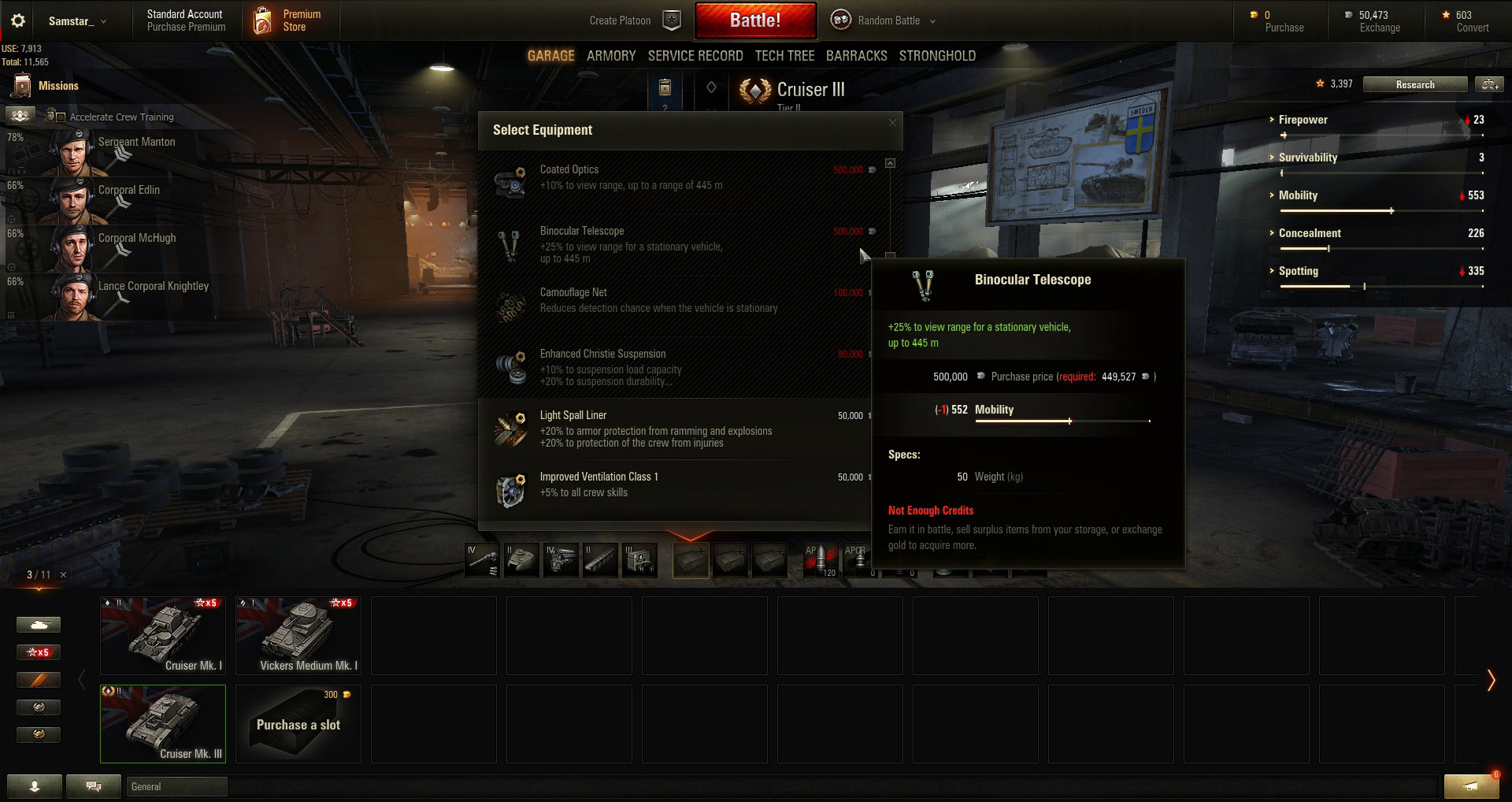 It might be expensive, but Equipment will help you improve your Light Tank