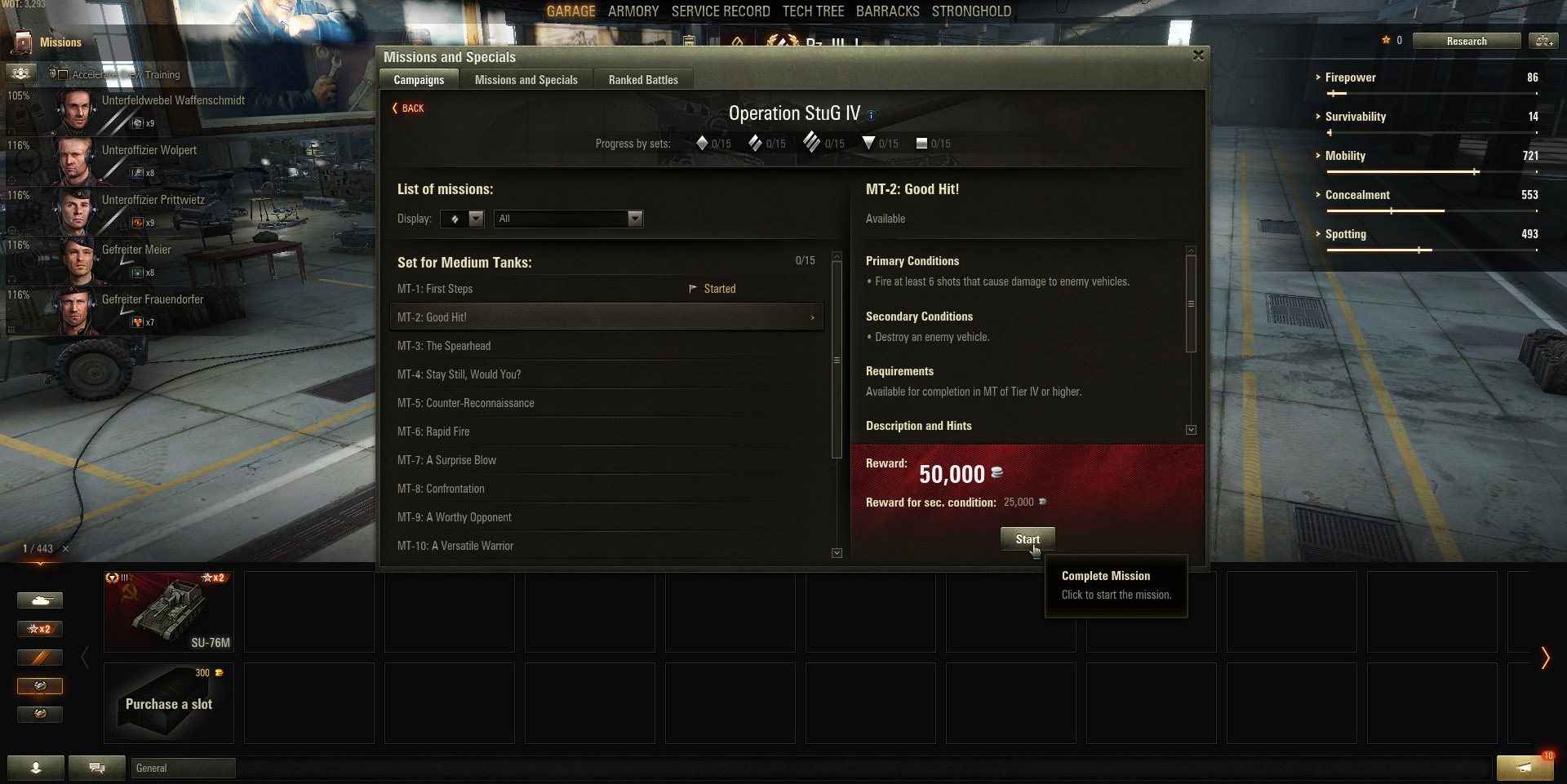 To start a Campaign Mission, click on the Mission button or the Red Banner above your chosen tank.