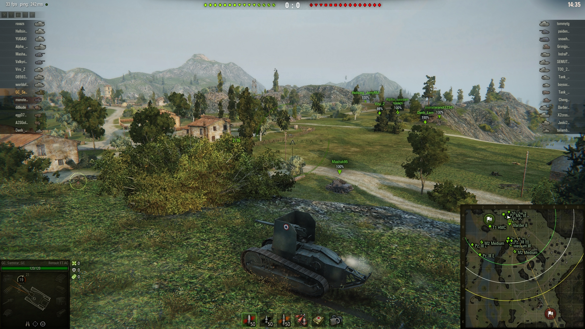 With an impressive gun depression, the Renault FT AC is better used as a hilltop sniper.
