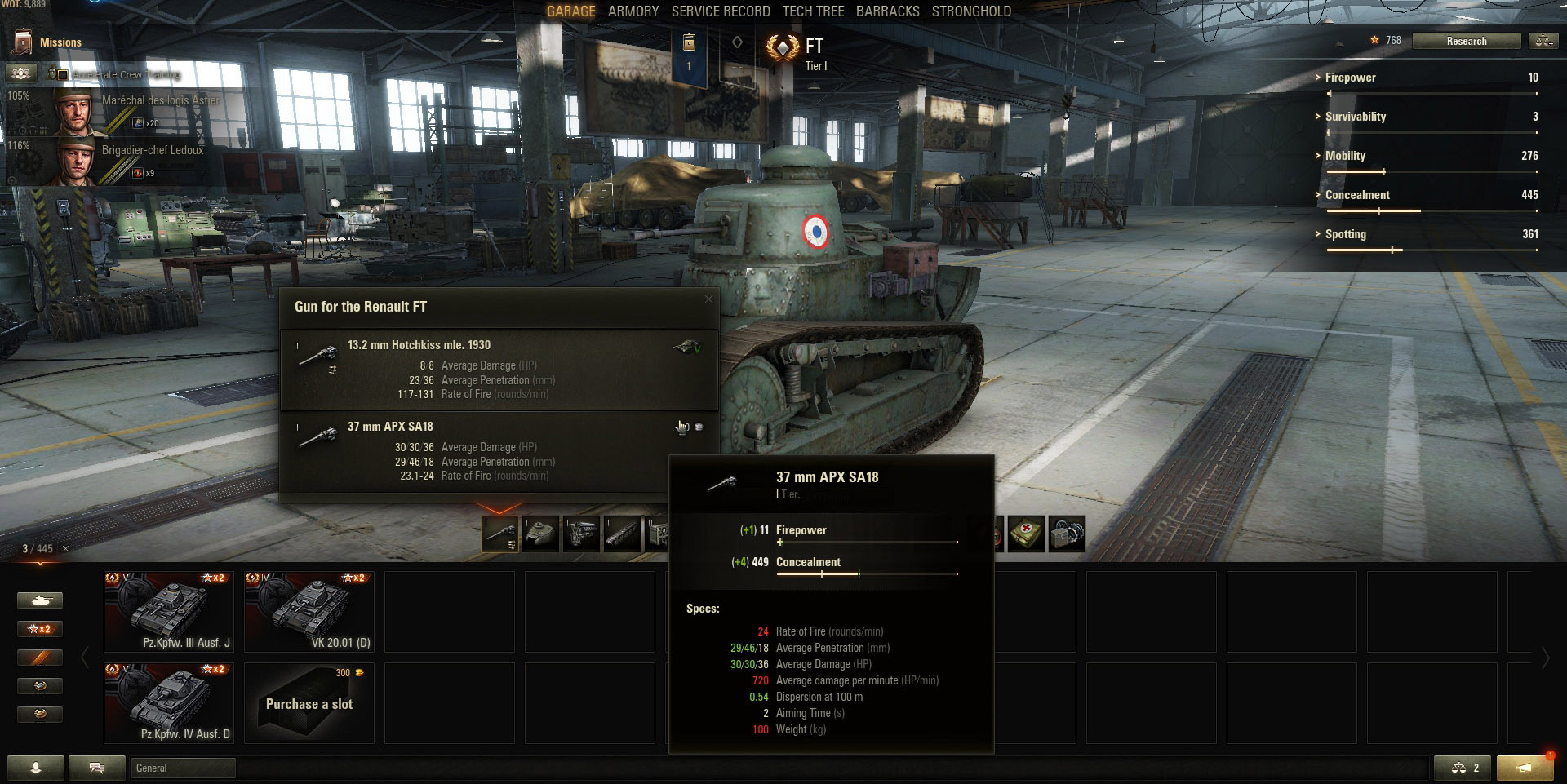 With only two guns, the Renault FT in World of Tanks offers little variety.