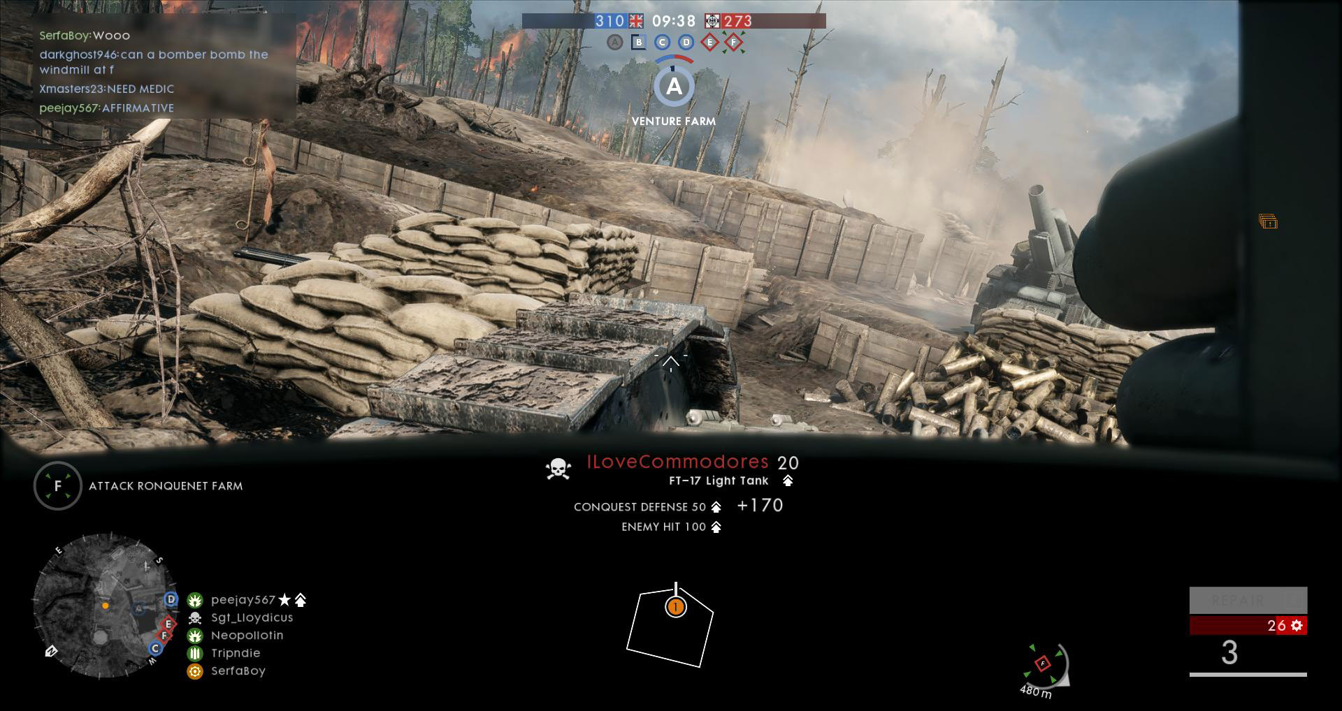 An interior view in Battlefield 1 allows for a lot of spatial awareness, it also helps when aiming the shotgun-like alternate armament.