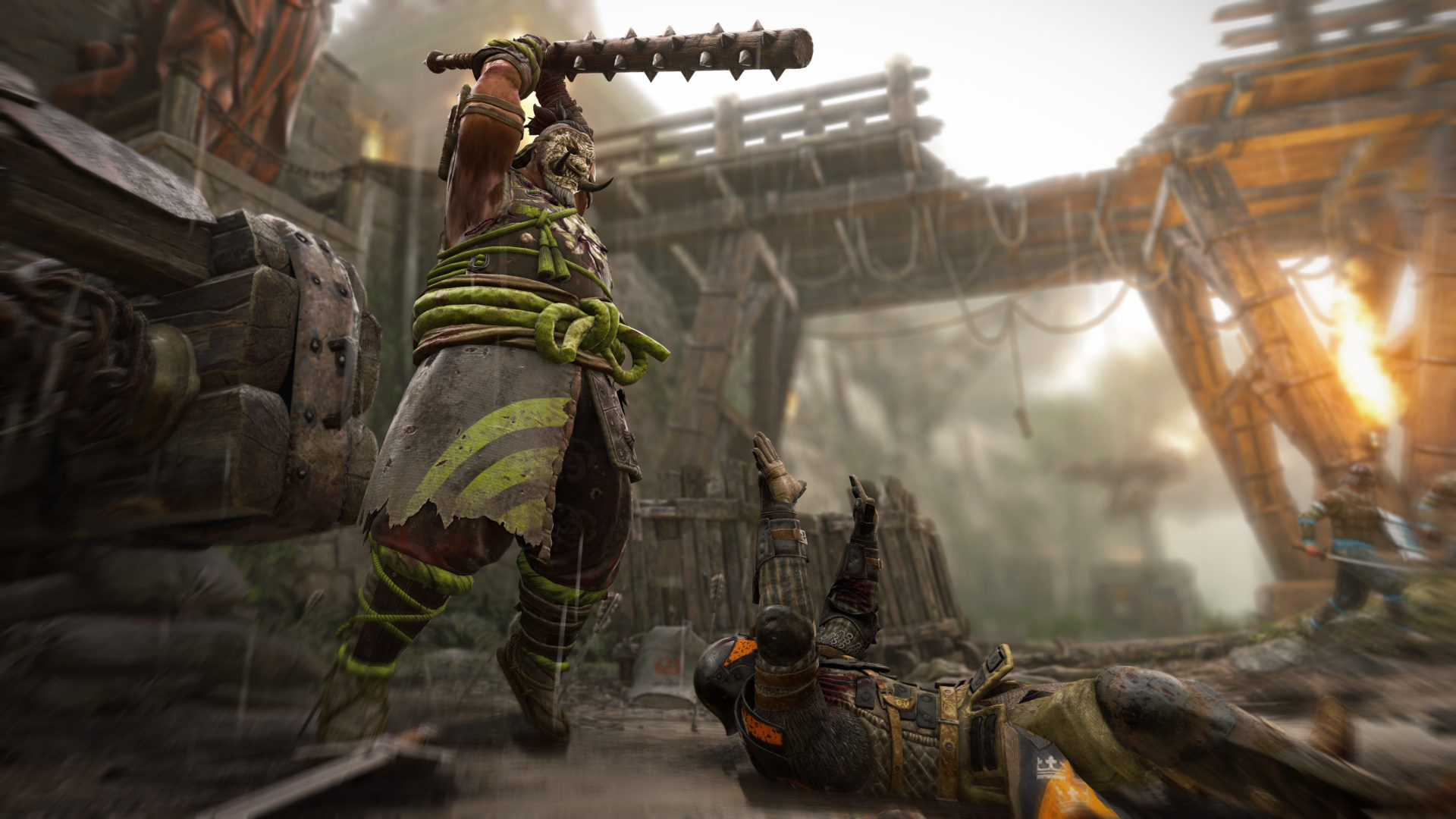 The Shugoki class in For Honor can strike as fast as a snake with his light attack and push back enemies with his heavy attack.