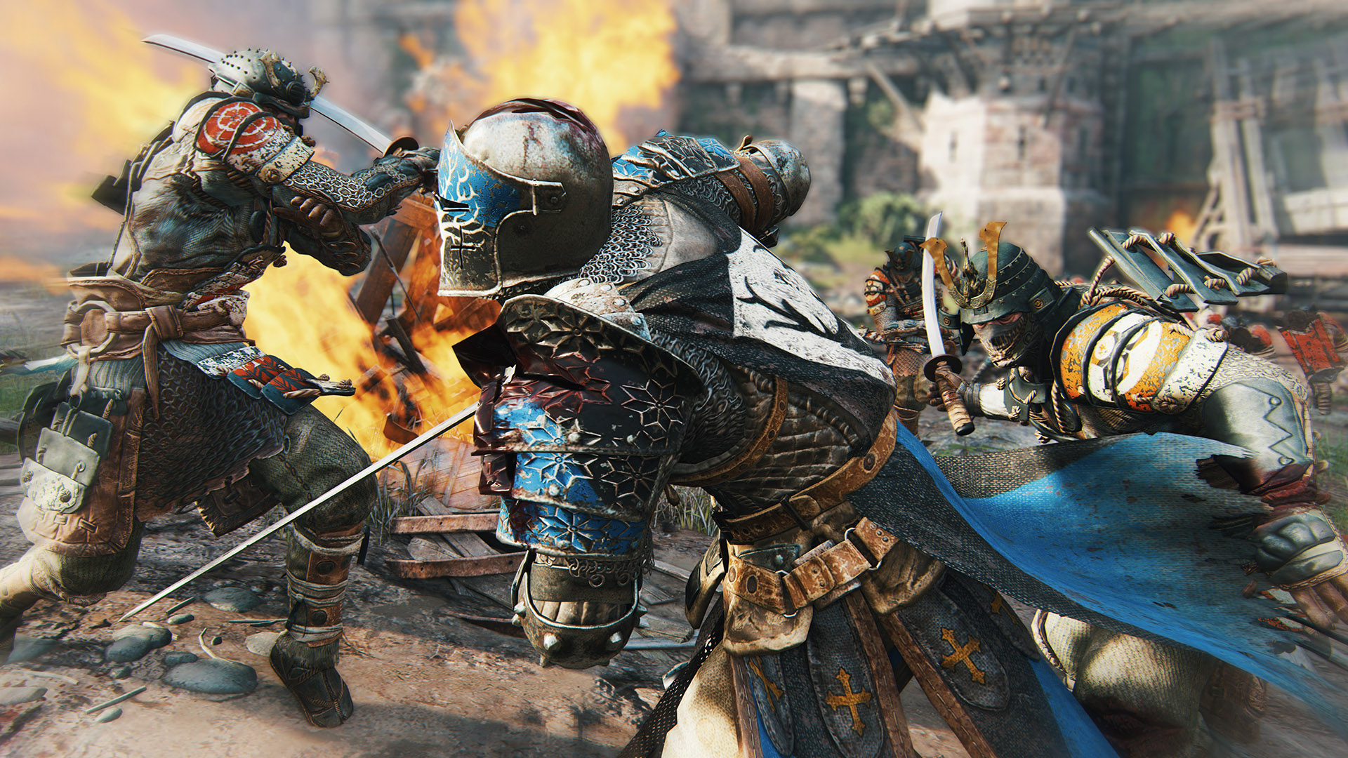 When fighting multiple enemies in For Honor, keep them side-by-side and focus on a primary target. Block the secondary target (regardless of how they attack) by blocking to the side they're standing on.