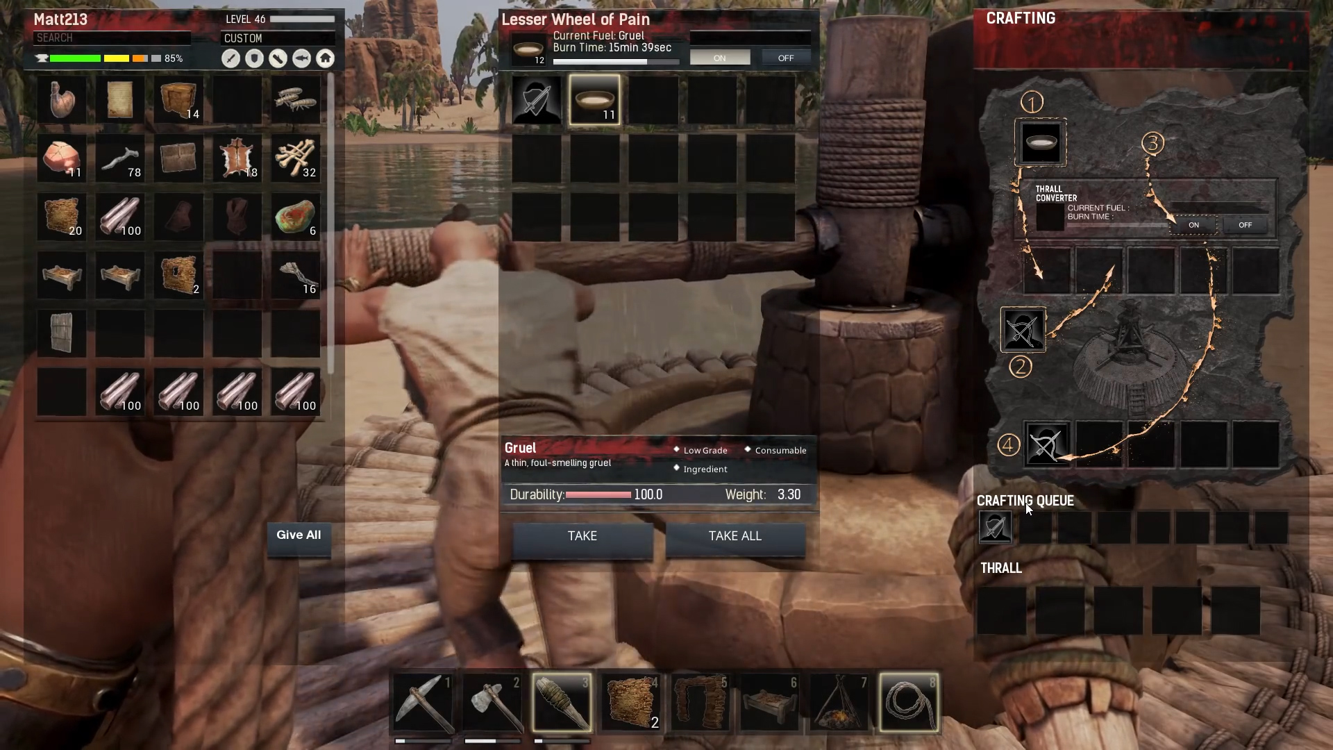 How to make gruel and tame Thralls in Conan Exiles