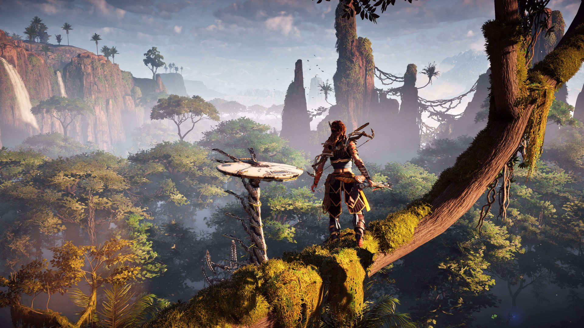 In Horizon: Zero Dawn, use Aloy's focus ability to identify weak spots on enemies.