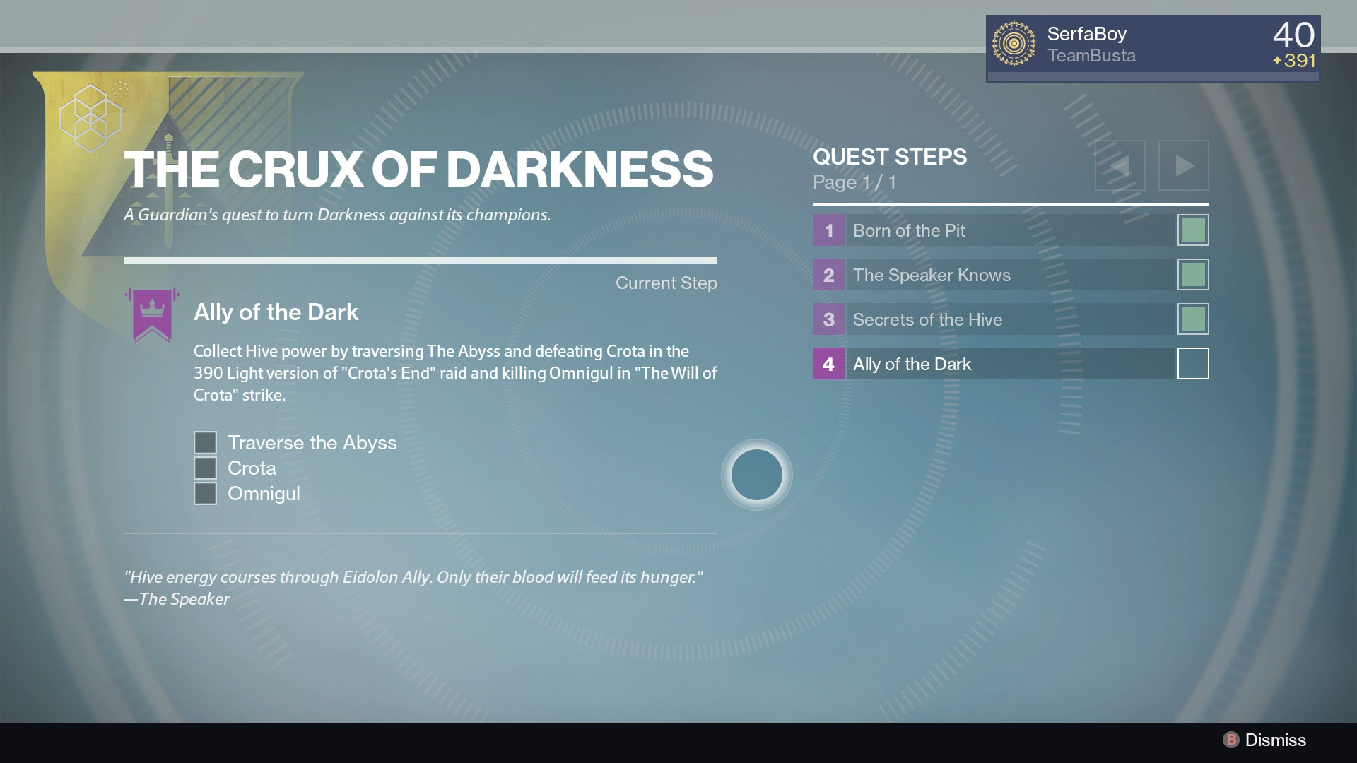 Complete the 390 Crota's End raid and kill Omnigul to receive the Essence of the Oversoul, the final piece to unlocking the Necrochasm.