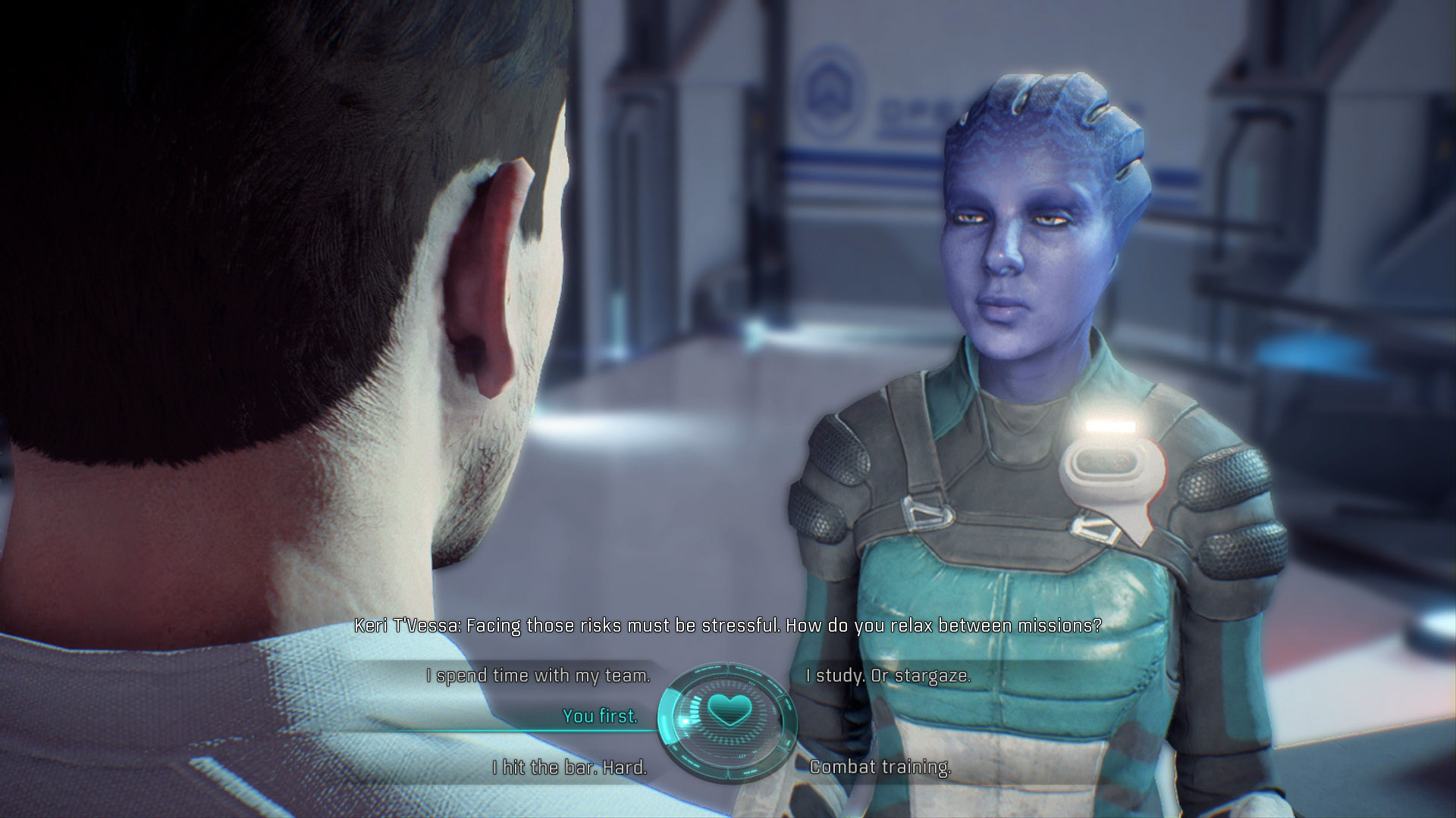 To romance Keri in Mass Effect: Andromeda, always check your emails for when she wants to continue the interview and always select the flirt option.