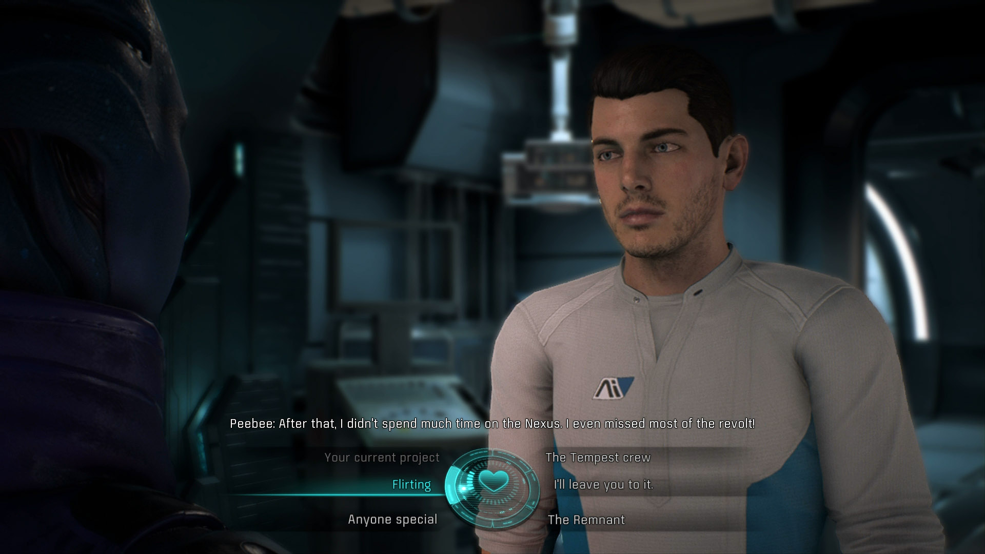 You must flirt with Peebee at least three times to romance her, when prompted, you can choose to enter a committed relationship with her too.