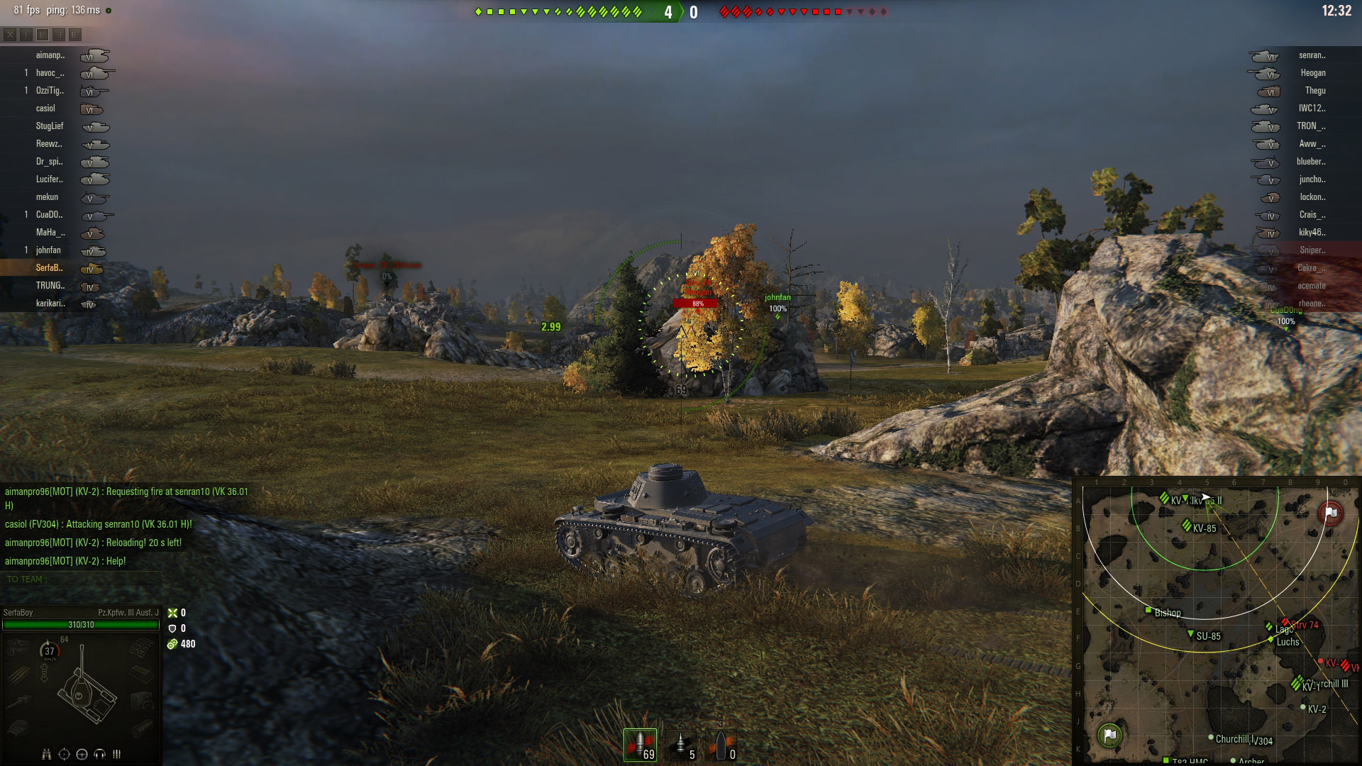By counting the enemy units, you will be able to tell if whether to expect resistance when pushing a flank. In the above image, the enemy team had focused heavily on the Eastern-side of the map, allowing my team to push along the top unopposed.