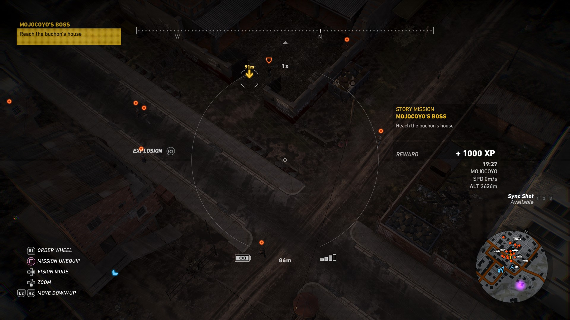 Spot enemies with you Drone, and don't stop until there are no more color blotches on the map, just dots.