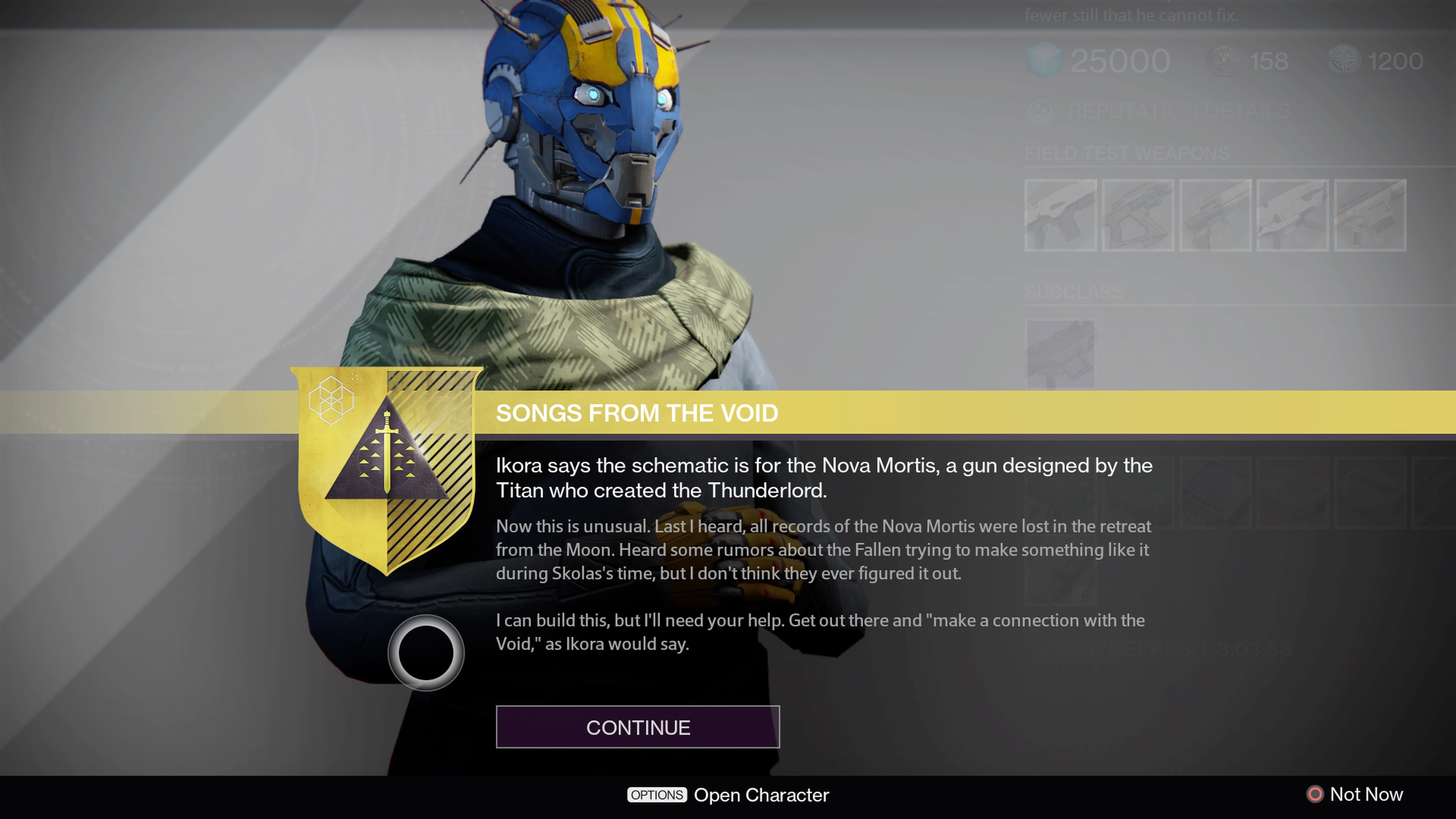 Go talk to Banshee-44 about the weather, and this Exotic Quest