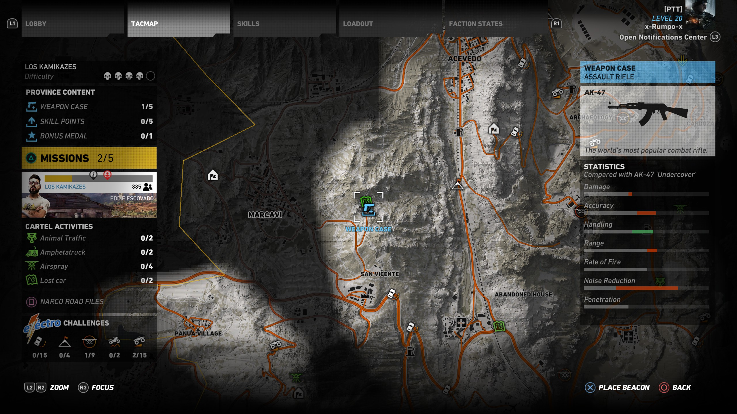 A zoomed out look at the location for the AK 47 in Narco Road of Ghost Recon Wildlands.