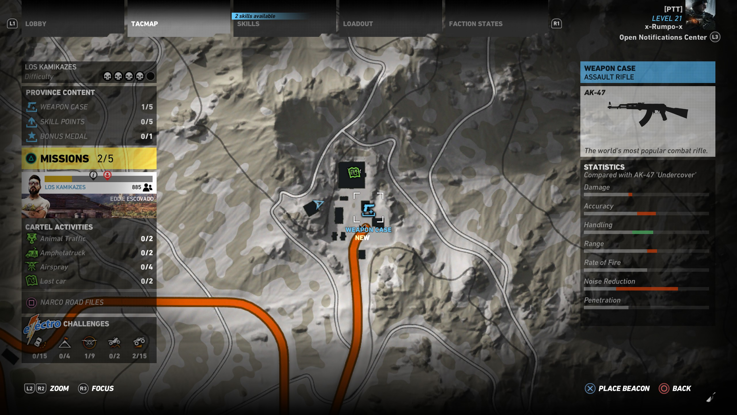A Zoomed in look at the location of the AK 47 in the Narco Road DLC of Ghost Recon Wildlands