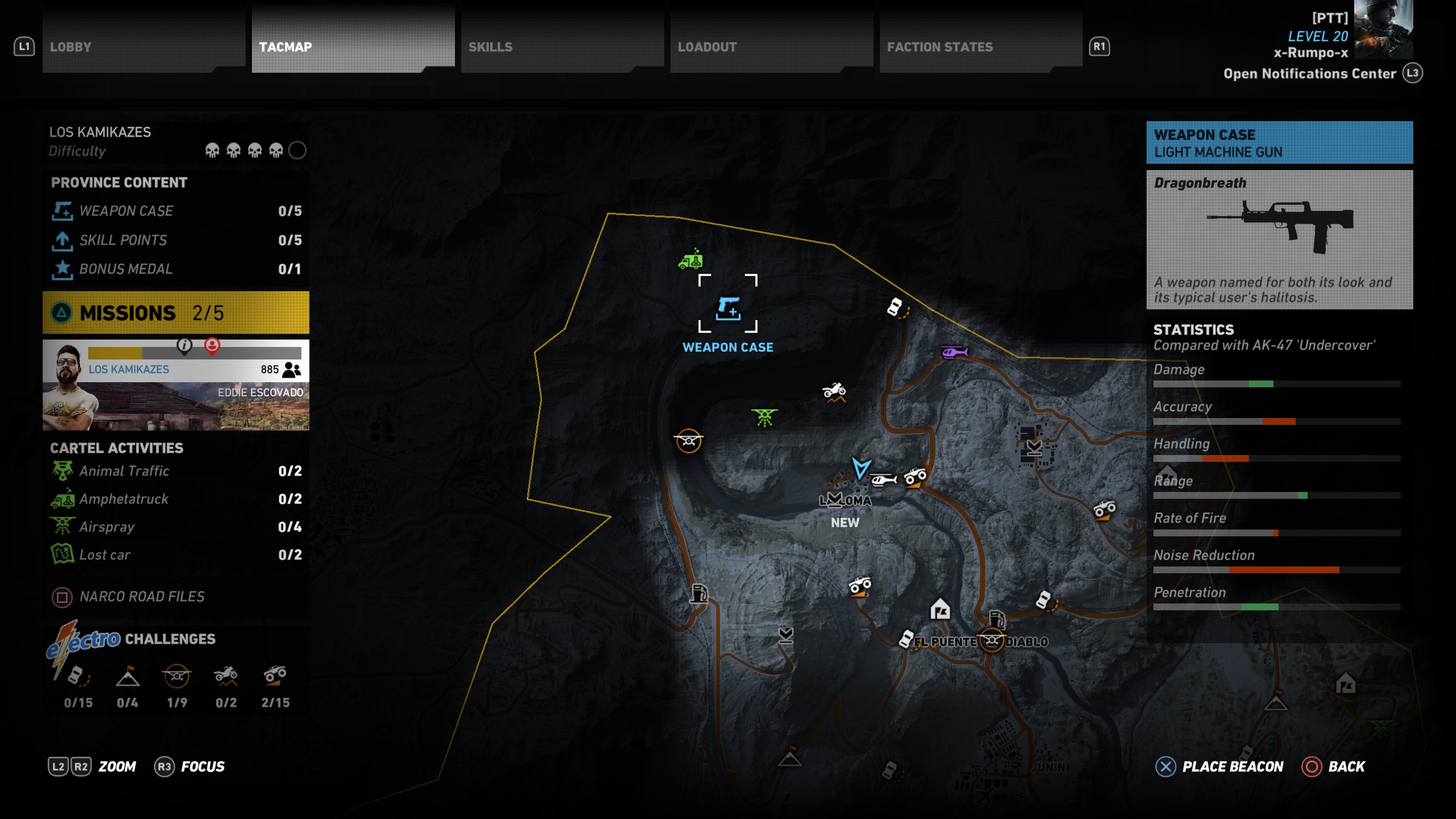 The location of the Dragonbreath Light Machine Gun in the Narco Road DLC.