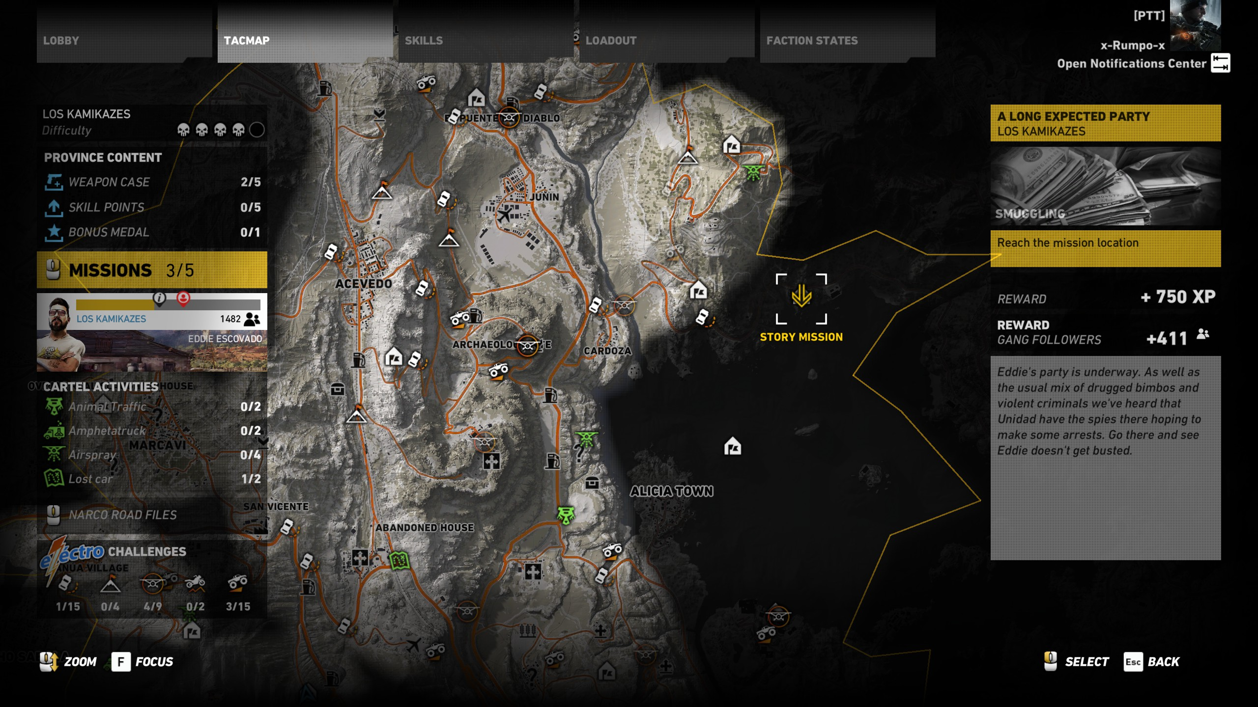 You can track your progress with various activities by opening your map.