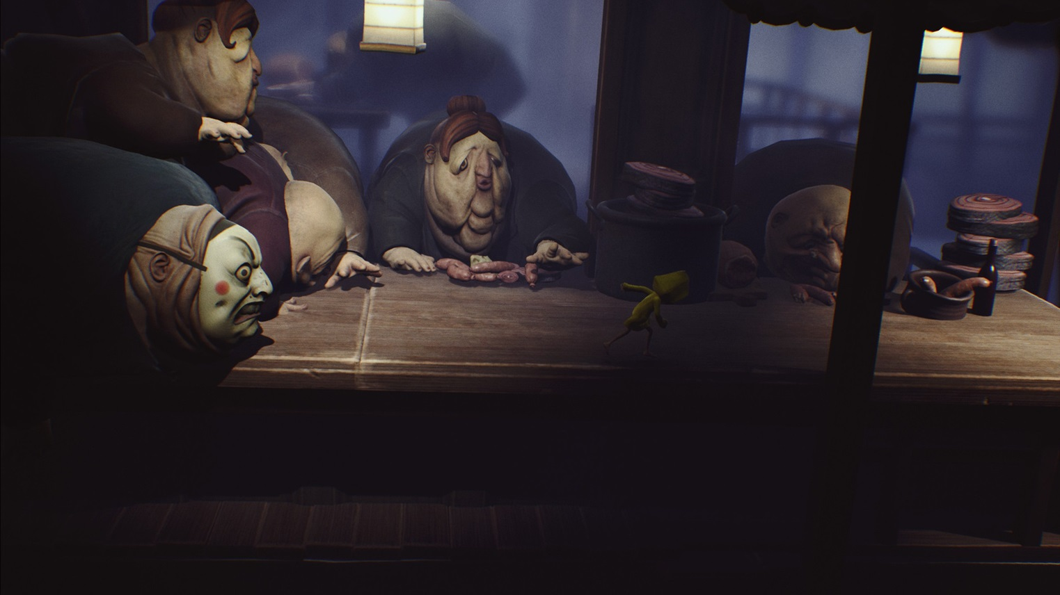 In this part of the Little Nightmares story, Six has to run through the dining hall past all of the hungry Guests.