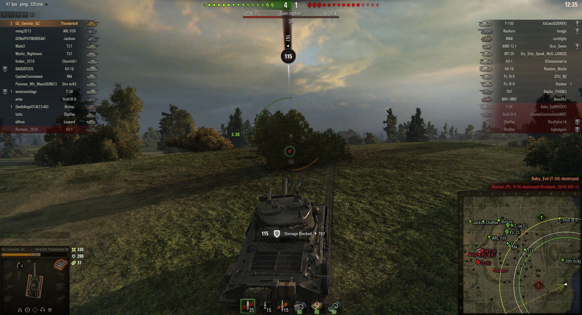 When angled front-on, the Thunderbolt could easily block the shot of a T67.