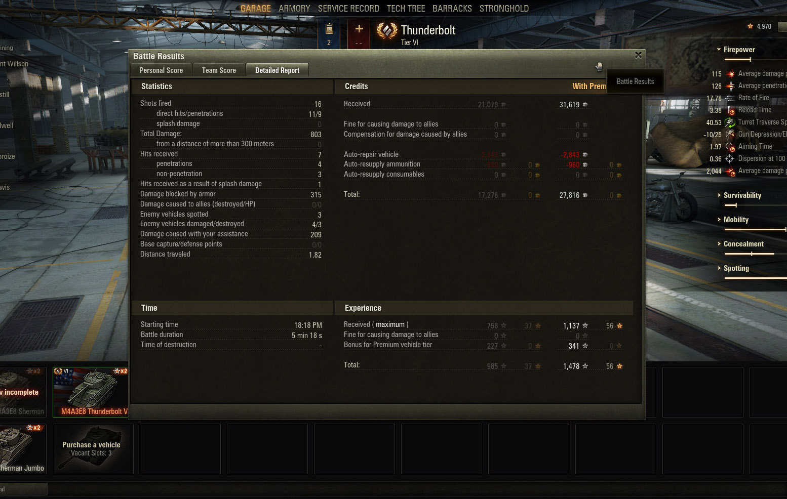 We're no unicum (or even above-average) players here, but with the Thunderbolt we were still able to pull in a modest amount of credits.