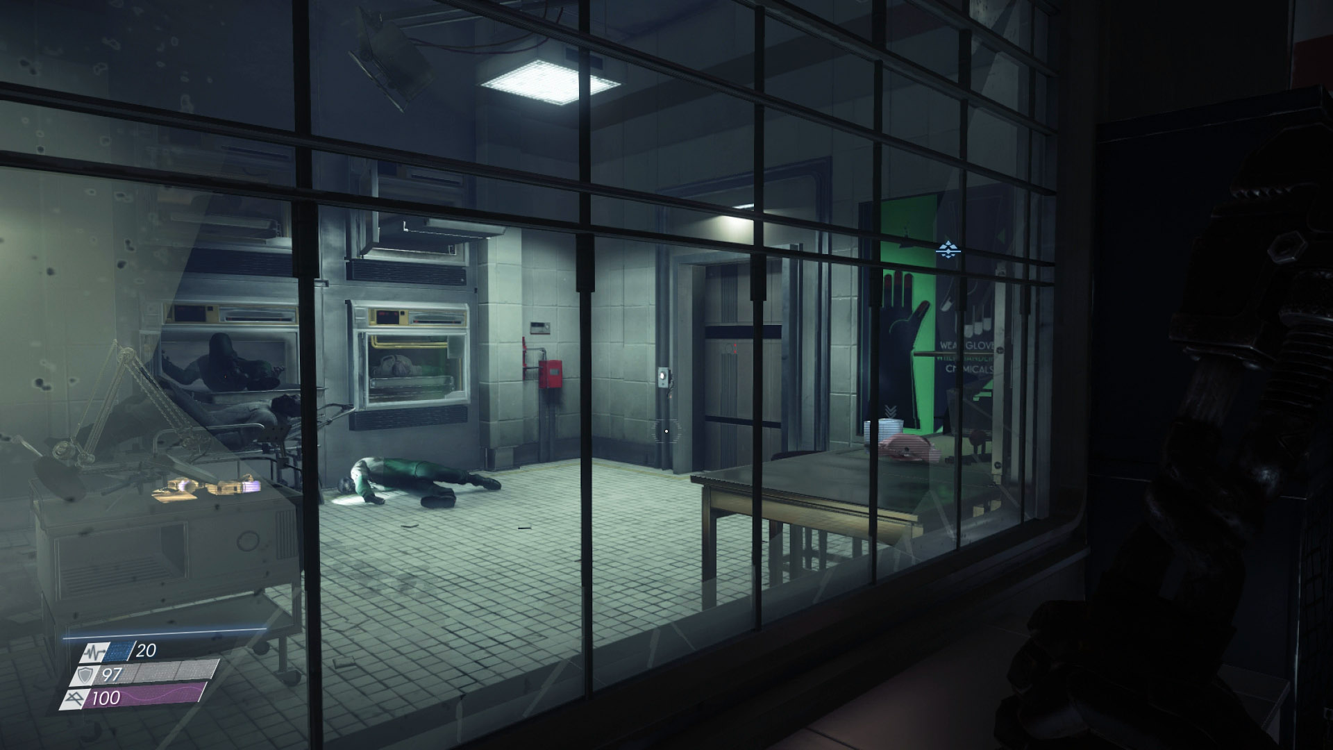 No matter how you choice to access the Morgue in Psychotronics, you will need to smash the glass.