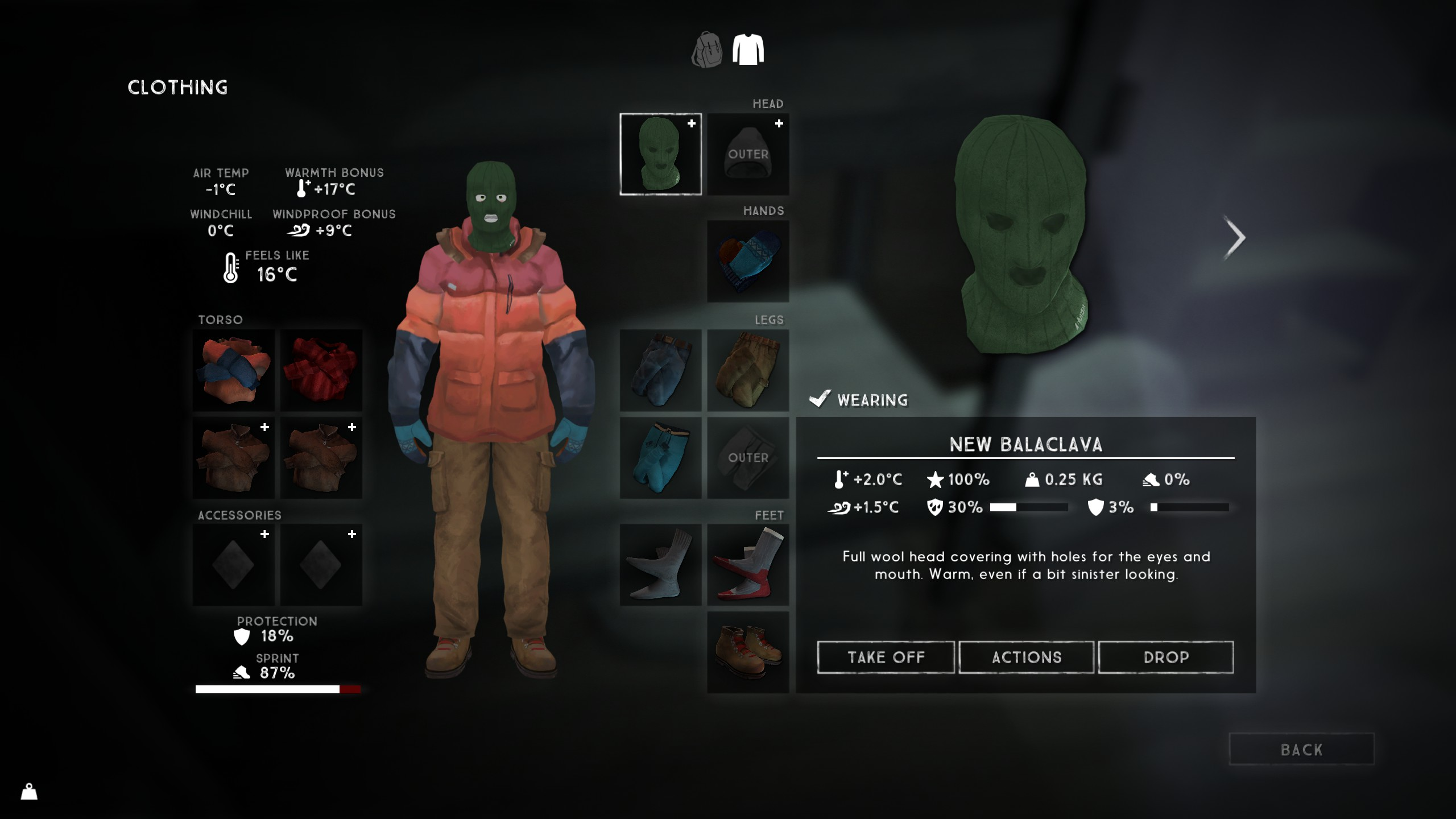 The Balaclava and Wool Toque is the meta for clothing items on your head in The Long Dark.