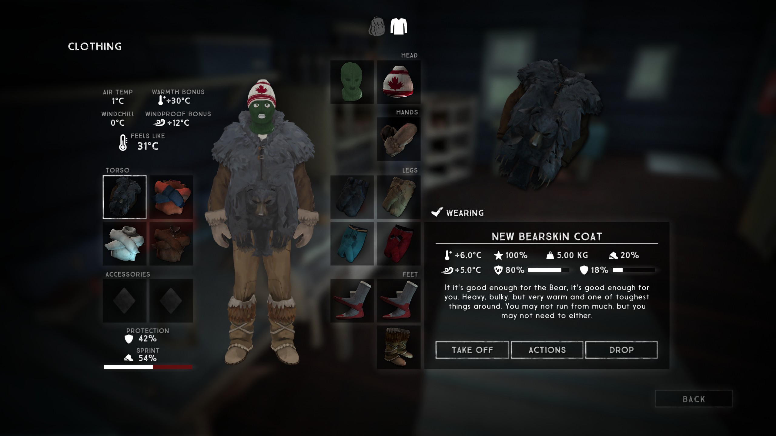 The Bearskin Coat in The Long Dark offers great warmth and protection, but is heavy and hinders mobility.