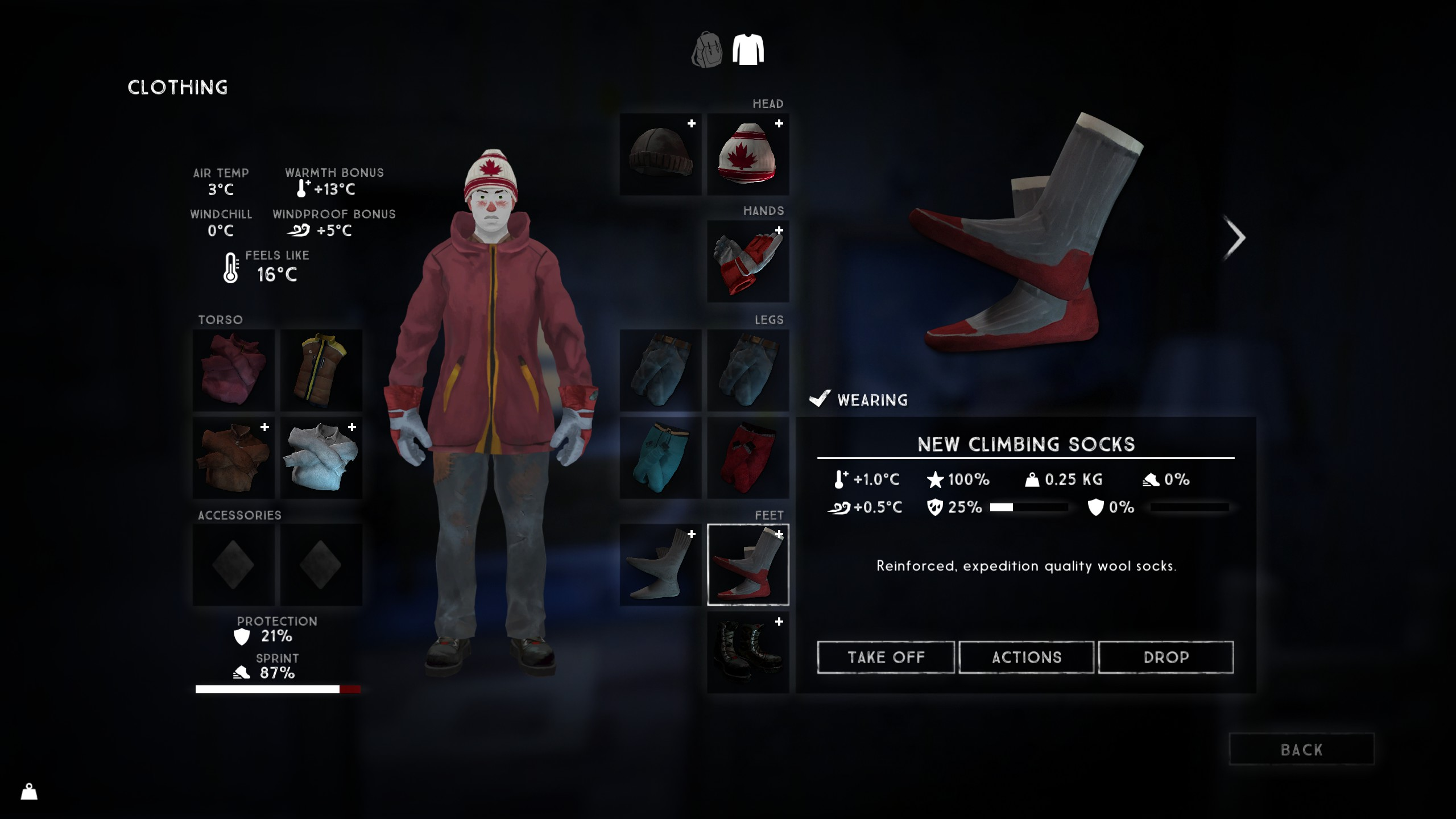 Put two pairs of Climbing Socks on your feet in The Long Dark and harvest whatever else you find.