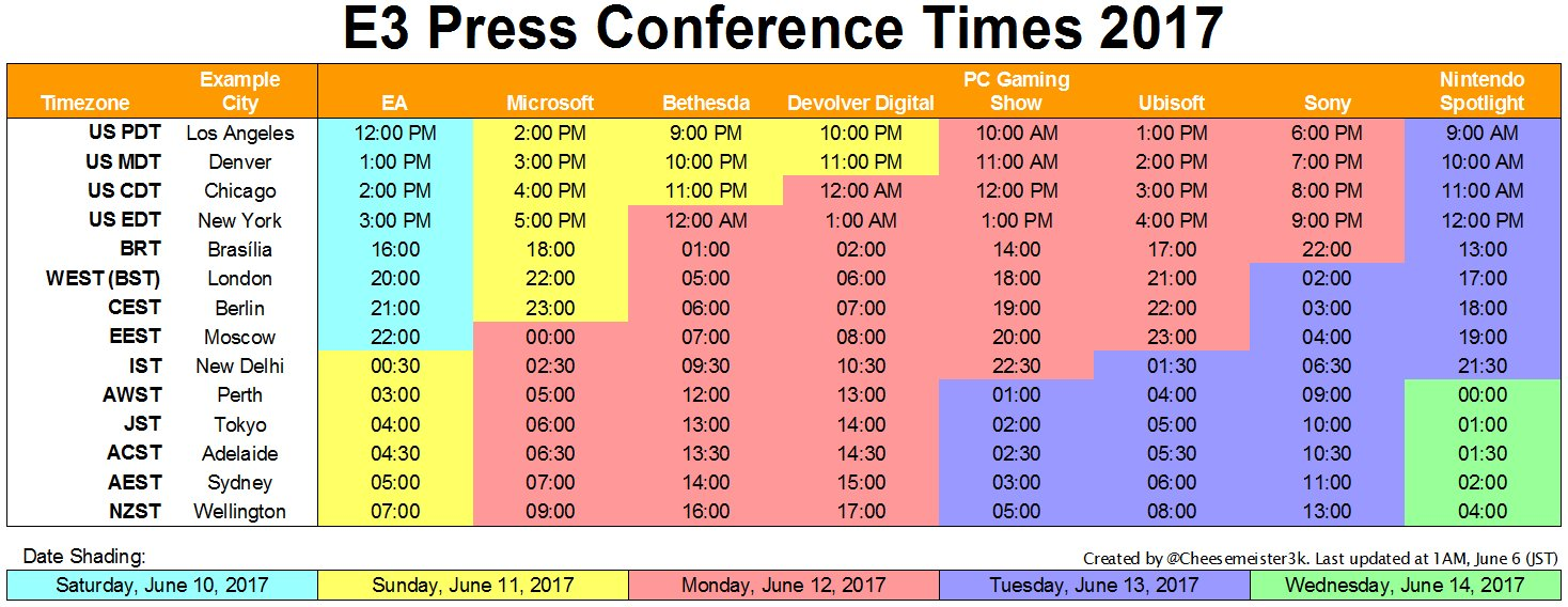 E3 Schedule and Timezones | AllGamers