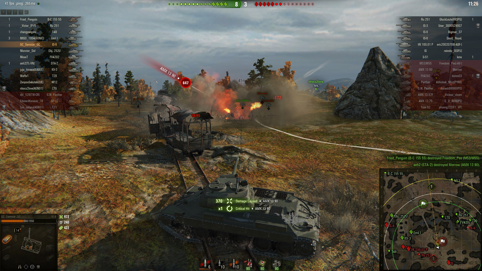 Try to use speed to get behind the IS-6 to better aim at its rear armor.