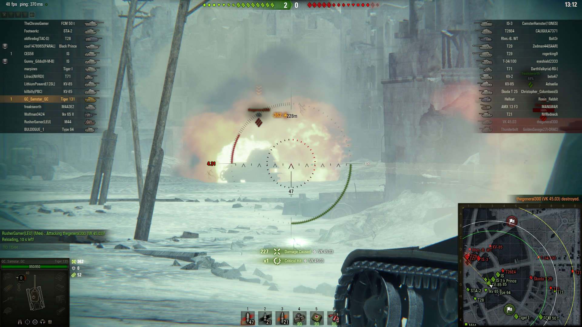 Though the penetration and alpha are only standard, the Tiger 131 is still able to dish out some punishment to at- and low-tier tanks.