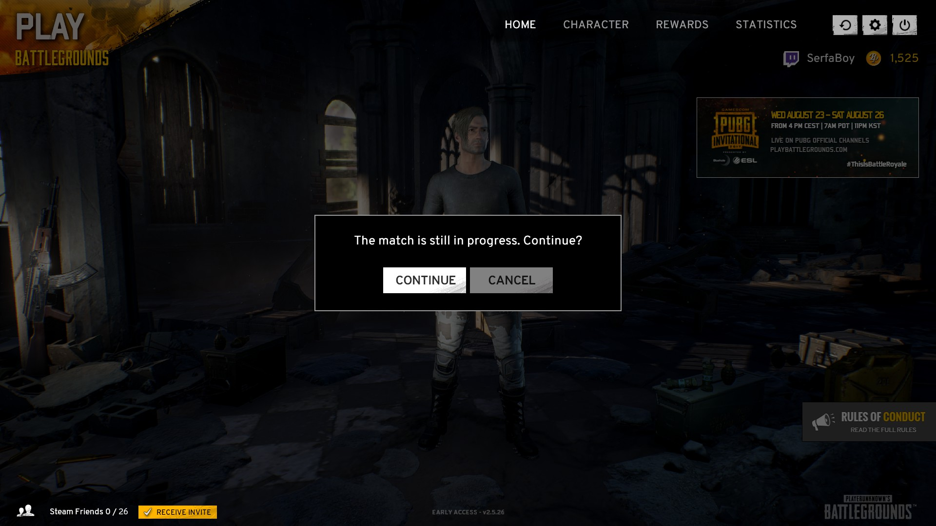 If your PUBG game crashed while in a match, you can relaunch the game and click