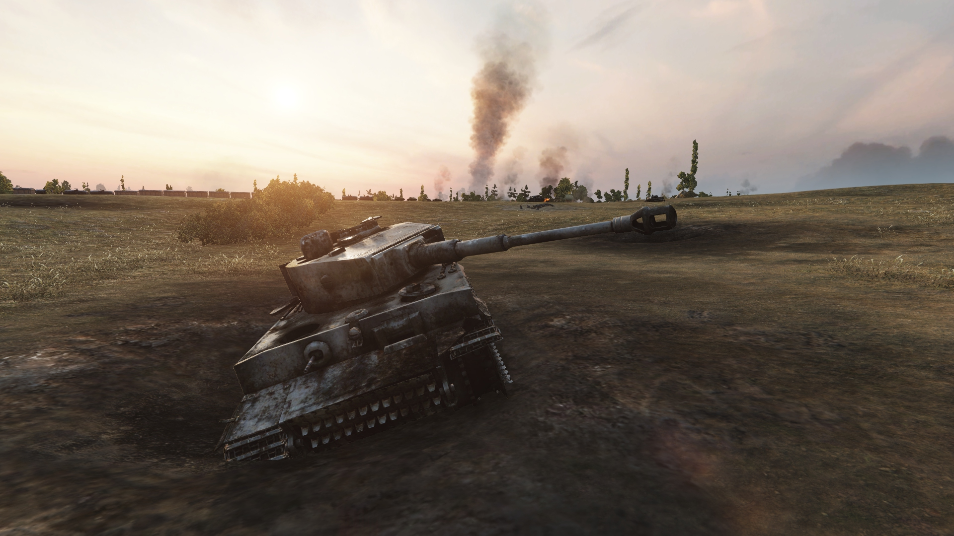 An example of a pre-destroyed tank acting as a terrain feature.