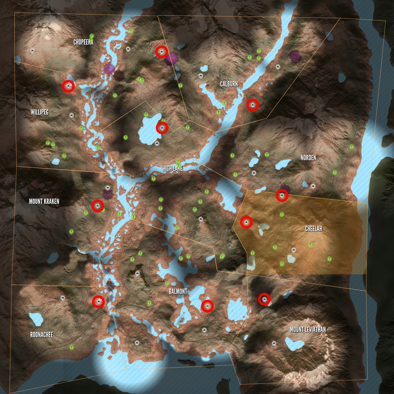 TheHunter Call Of The Wild All Layton Lake Outpost Locations - Marks lake maps