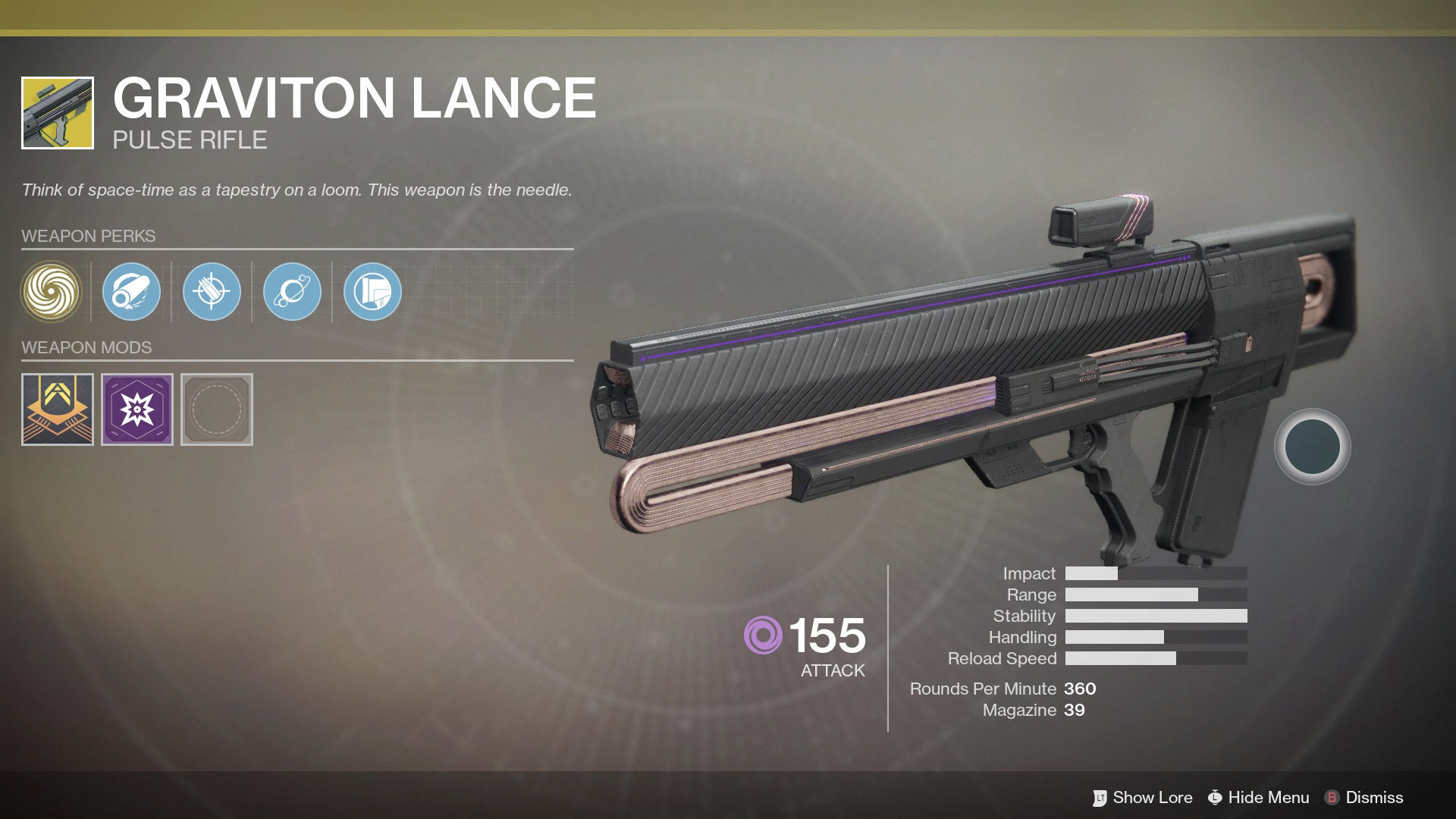 With its third-round doing extra damage, the Graviton Lance Exotic Weapon is great at long-range shots.