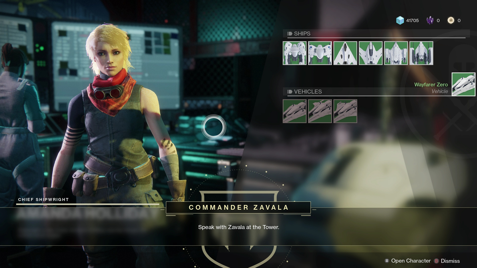 You will need to find Amanda Holliday in the Social Space to receive your first Sparrow in Destiny 2.