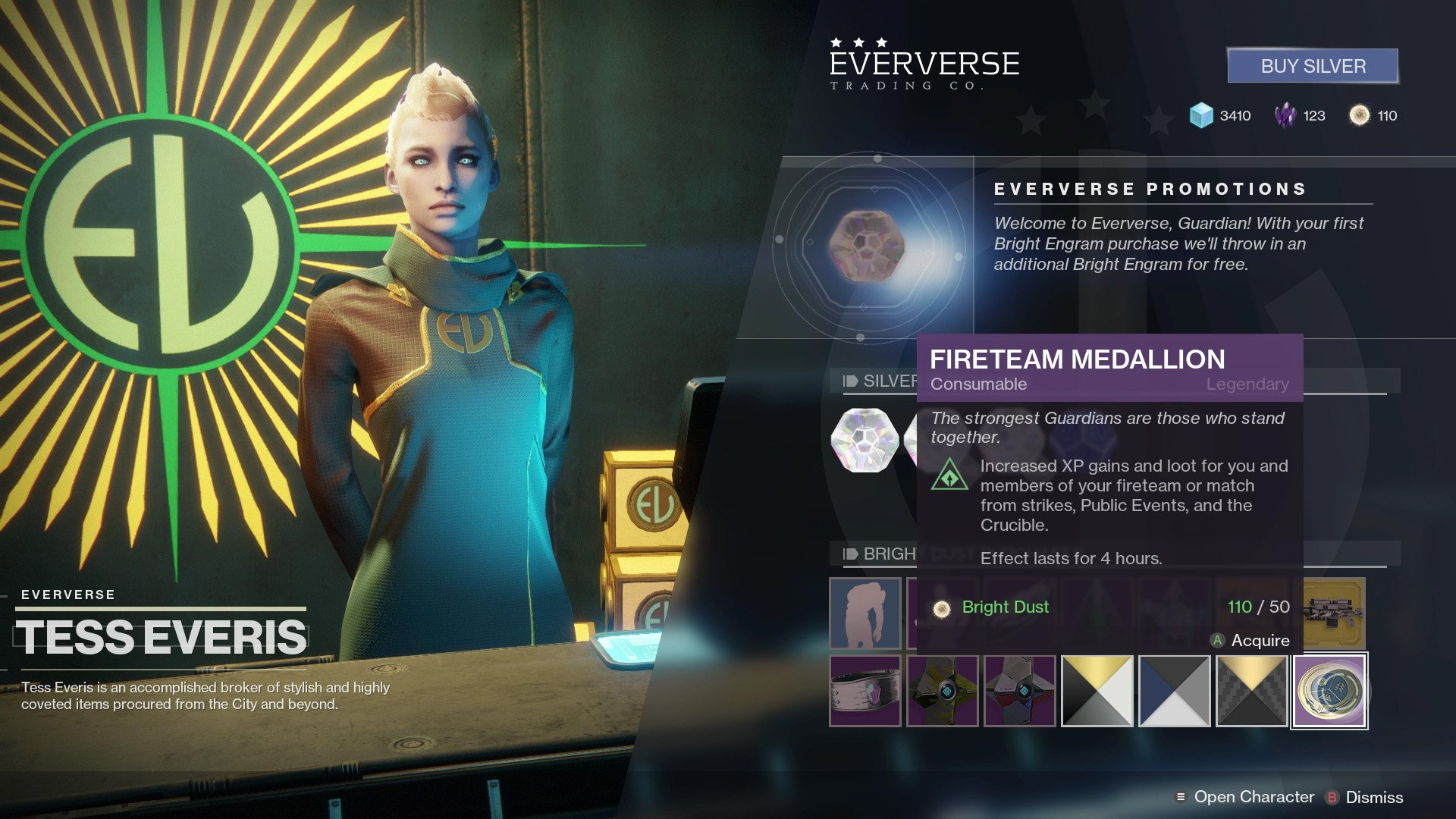 Fireteam Medallions increase the amount of XP and loot you receive, the latter of which can be dismantled into Glimmer.