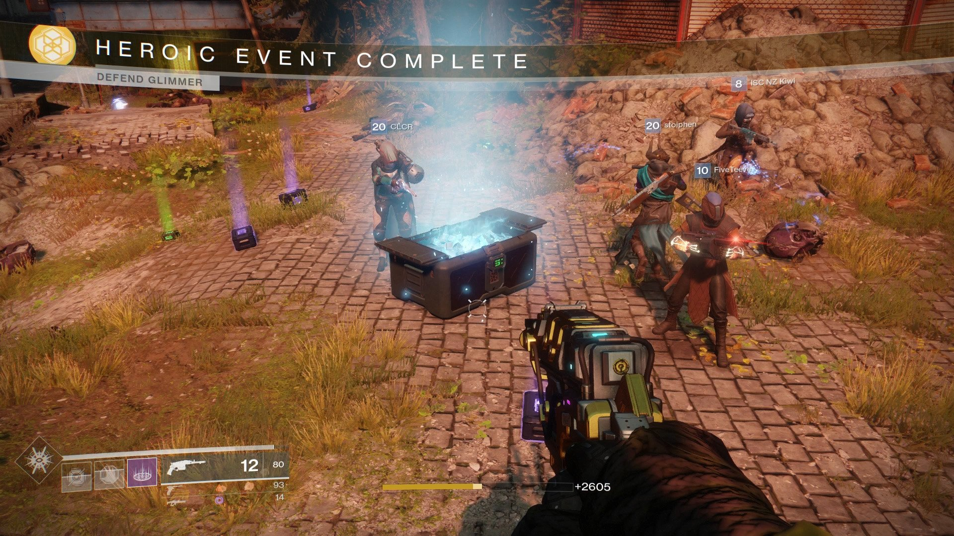 Killing enemies during the Heroic Public Event earn you Glimmer, as does the loot chest at the end.