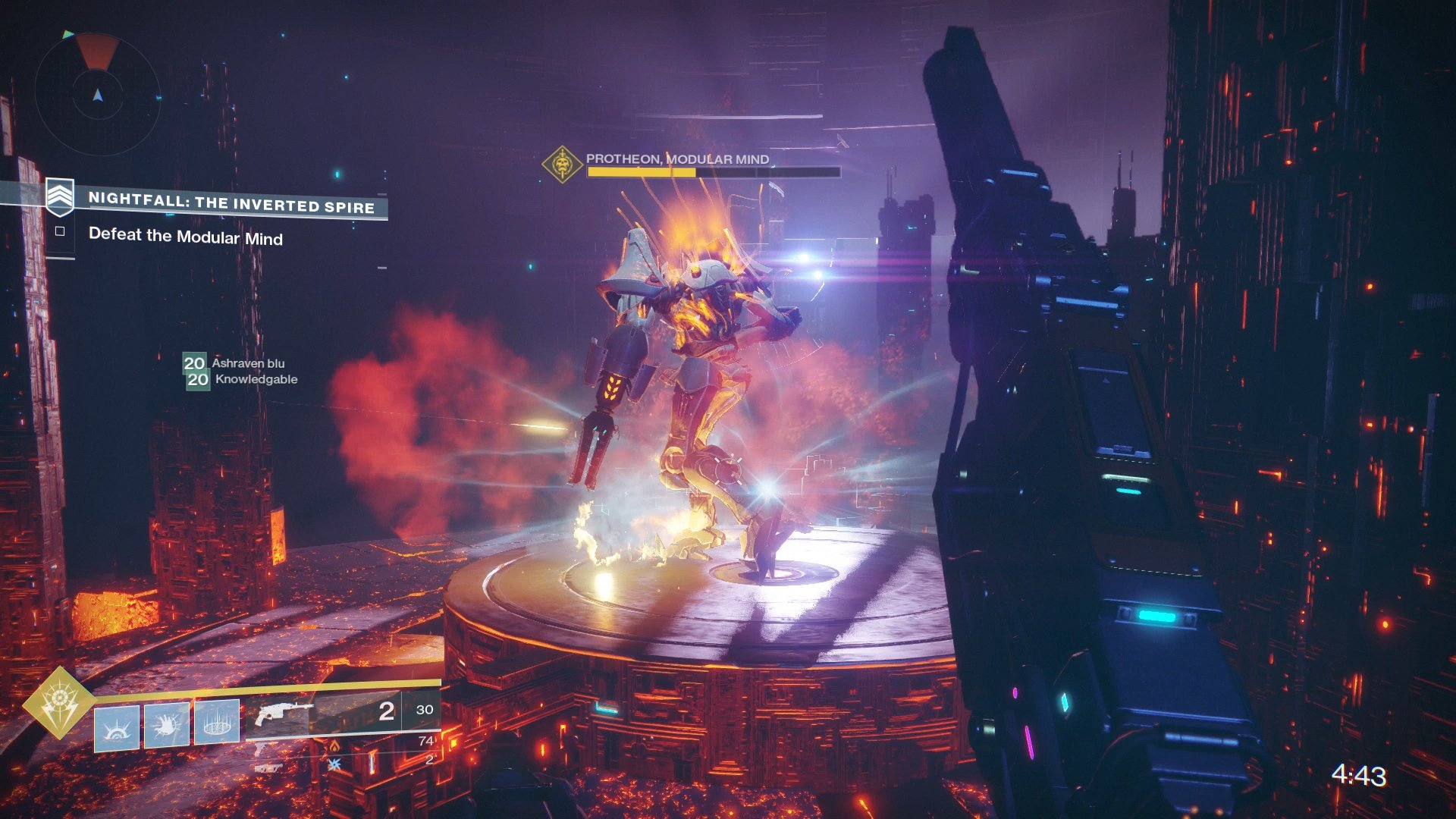 Standing on the pillars during the boss' second phase will help to complete the Nightfall Challenge.