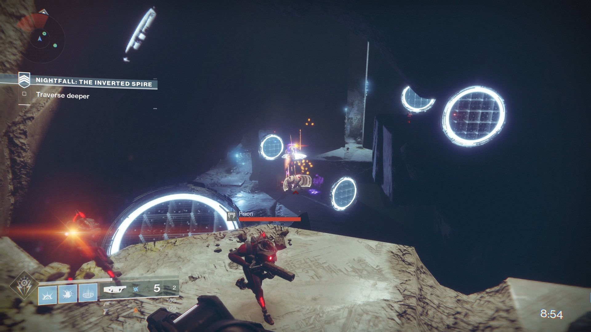 Jump through the rings to add more time to the time limit. However, don't jump through them at the risk of dying, else it will make the Nightfall more difficult.