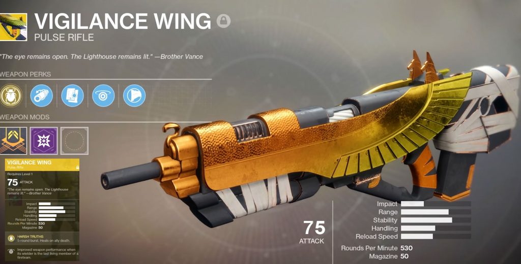 The 5-round burst from Vigilance Wing decimates opponents in the Crucible.
