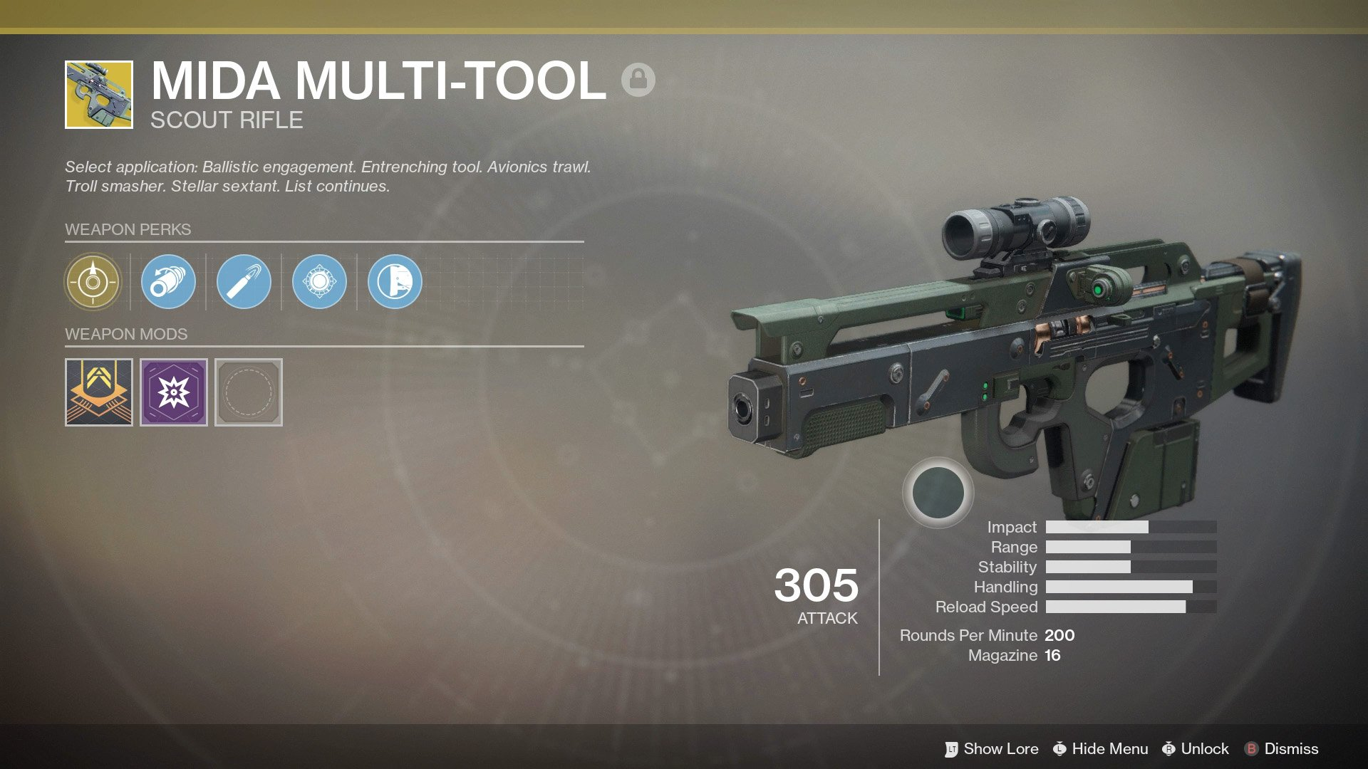 The MIDA Multi-Tool is one of the greatest weapons currently in Destiny 2. Unlocking it last is a good idea as you will want it to be as high Power as possible.