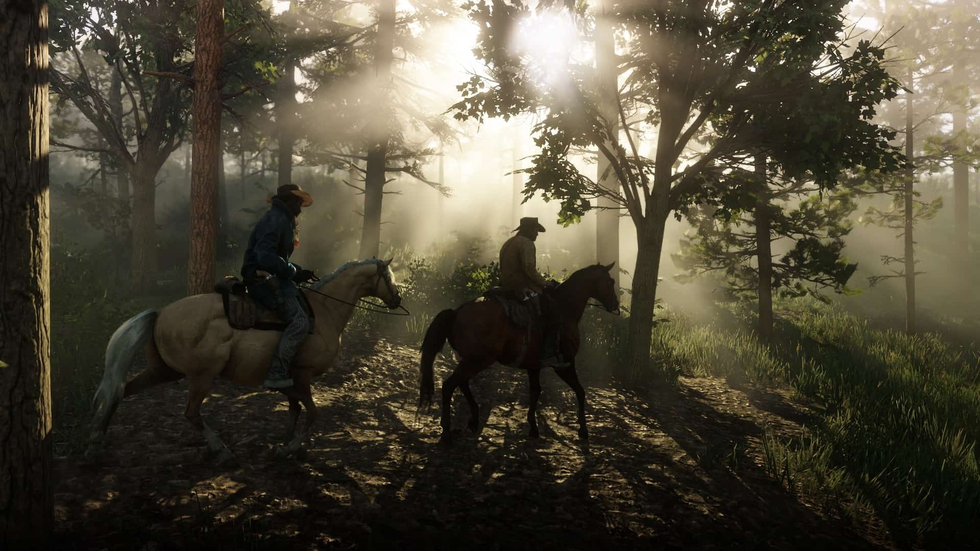 Two men ride through a forest. Horse Guide for Red Dead Redemption 2