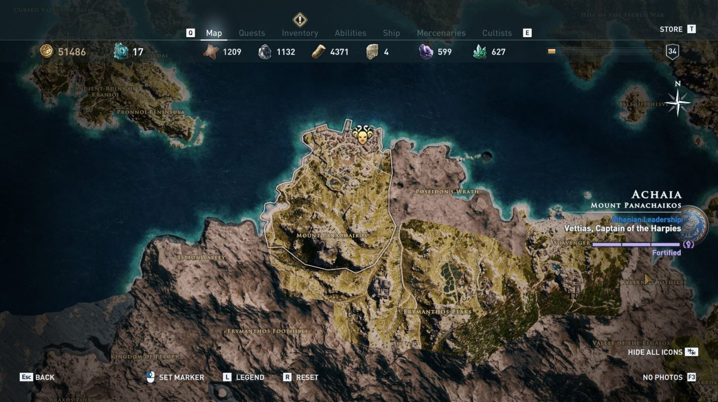 The game map - All Silver Vein Locations Assassin's Creed Odyssey