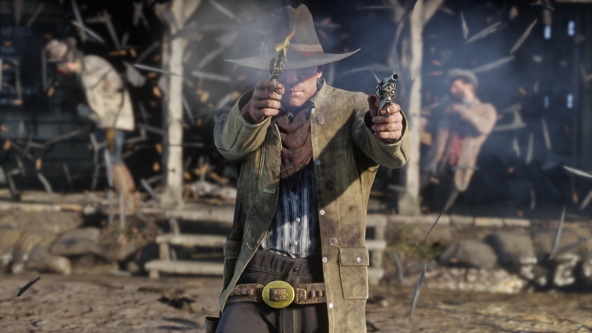 Two guns? That's hardly fair. © Rockstar Games