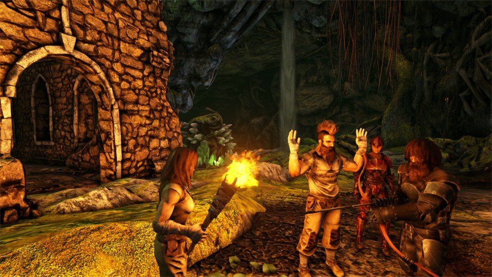 Players gather around a fire - ARK: Survival Evolved Base Building Guide