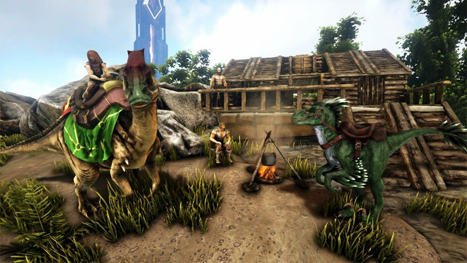 A player rides a dinosaur near a campfire ARK: Survival Evolved Base building guide