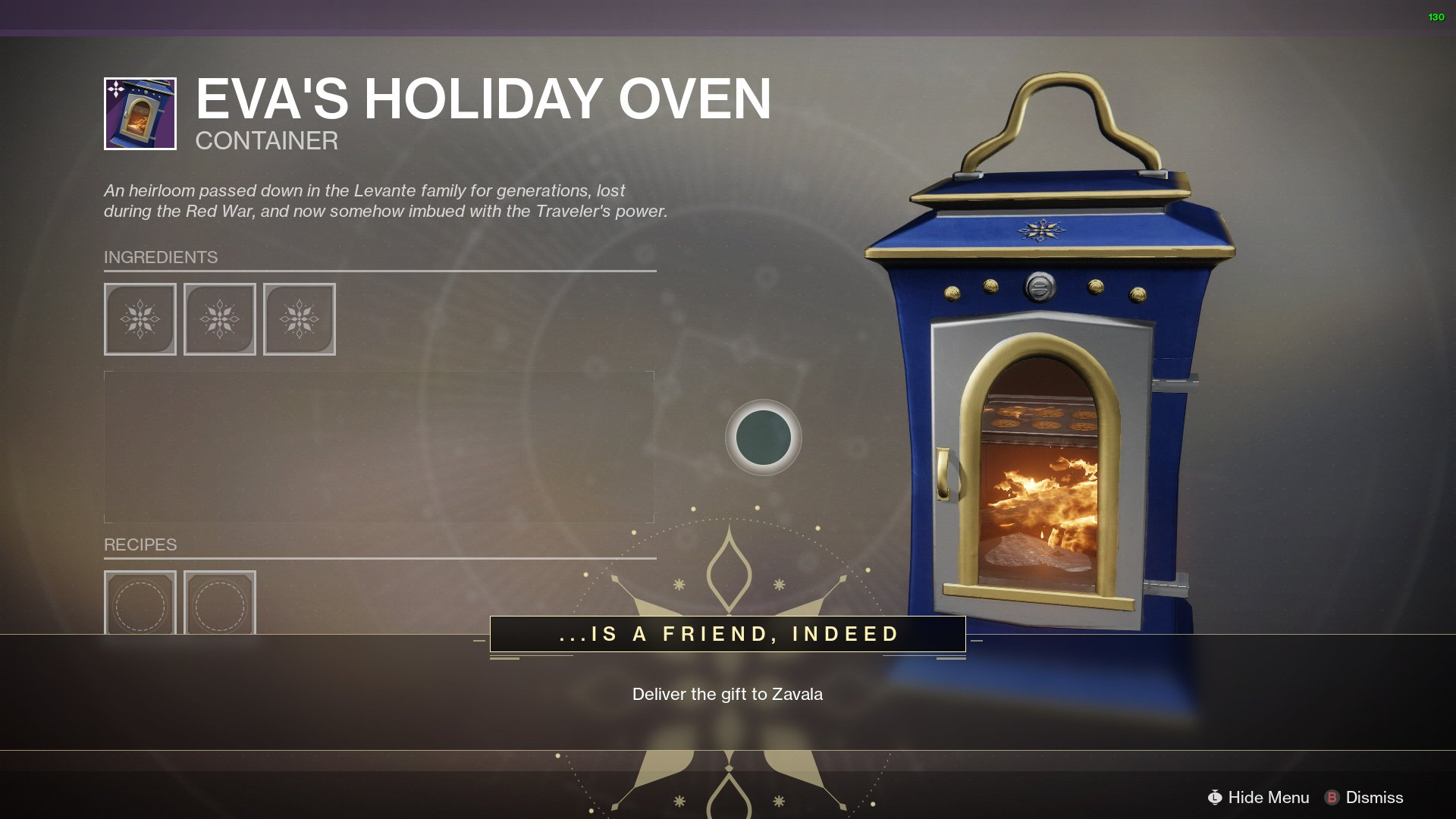 The oven used in Dawning Holiday Baking Recipes
